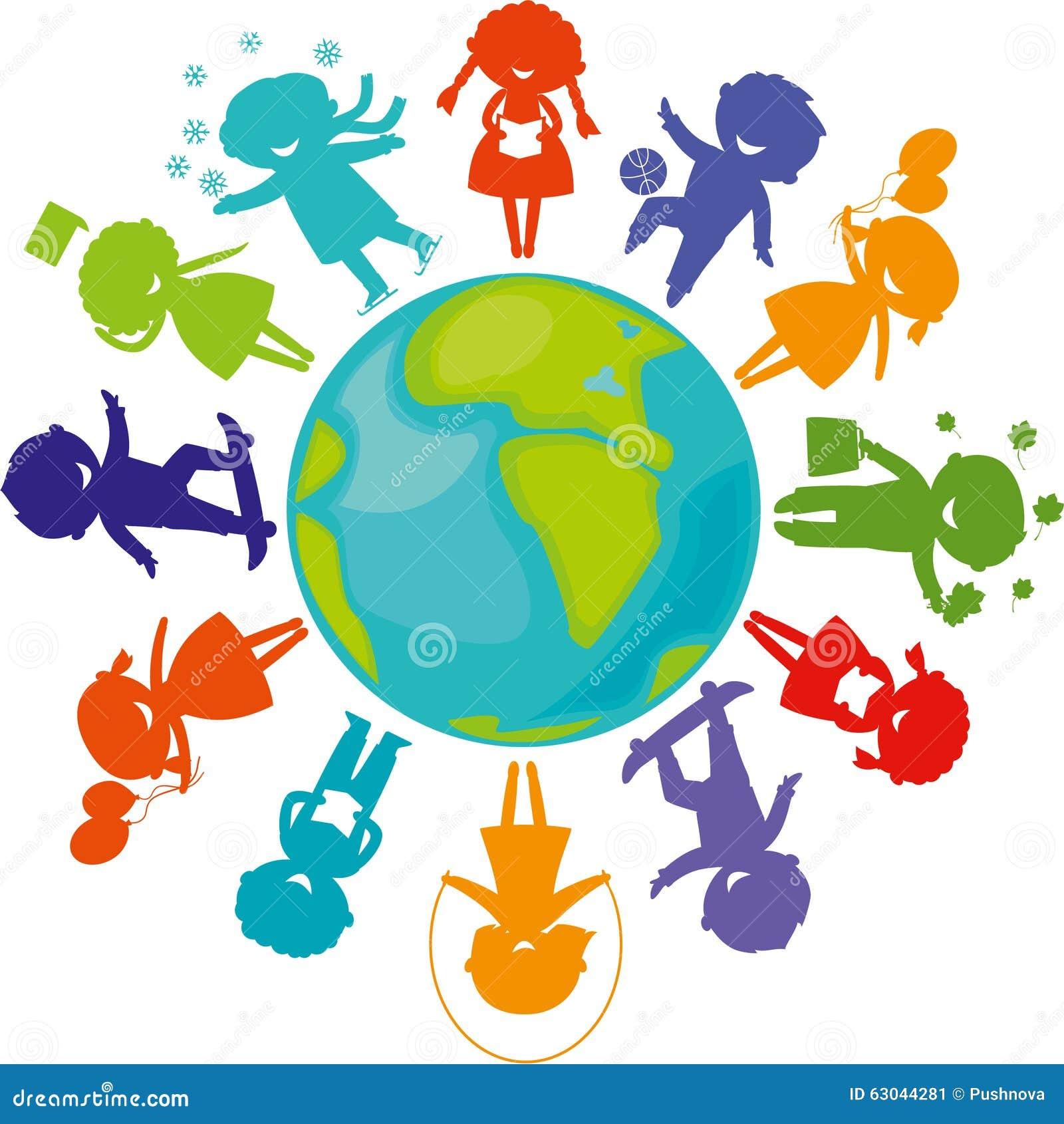 Siluetas, niños alrededor del mundo