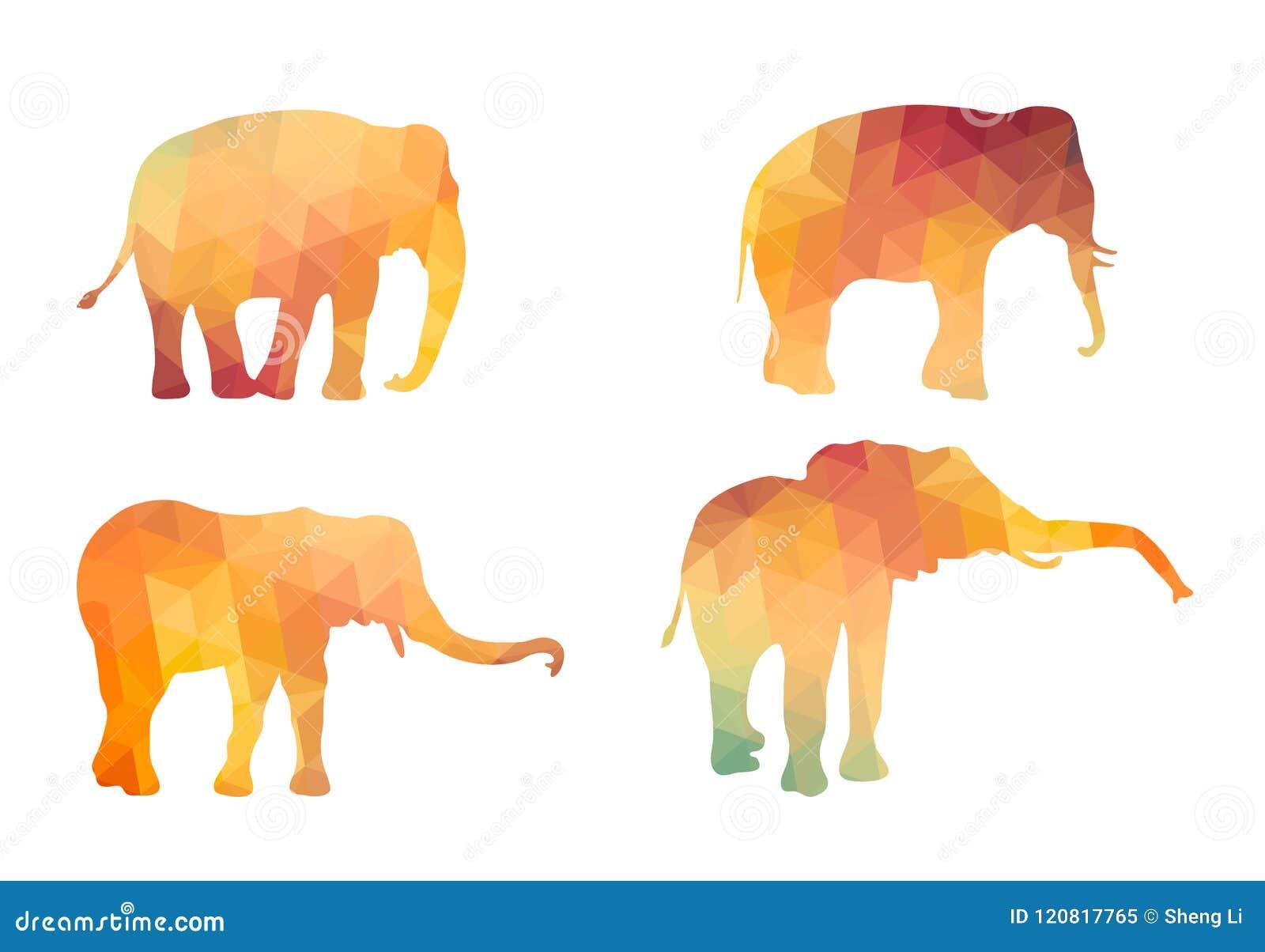 Siluetas poligonales del triángulo del elefante