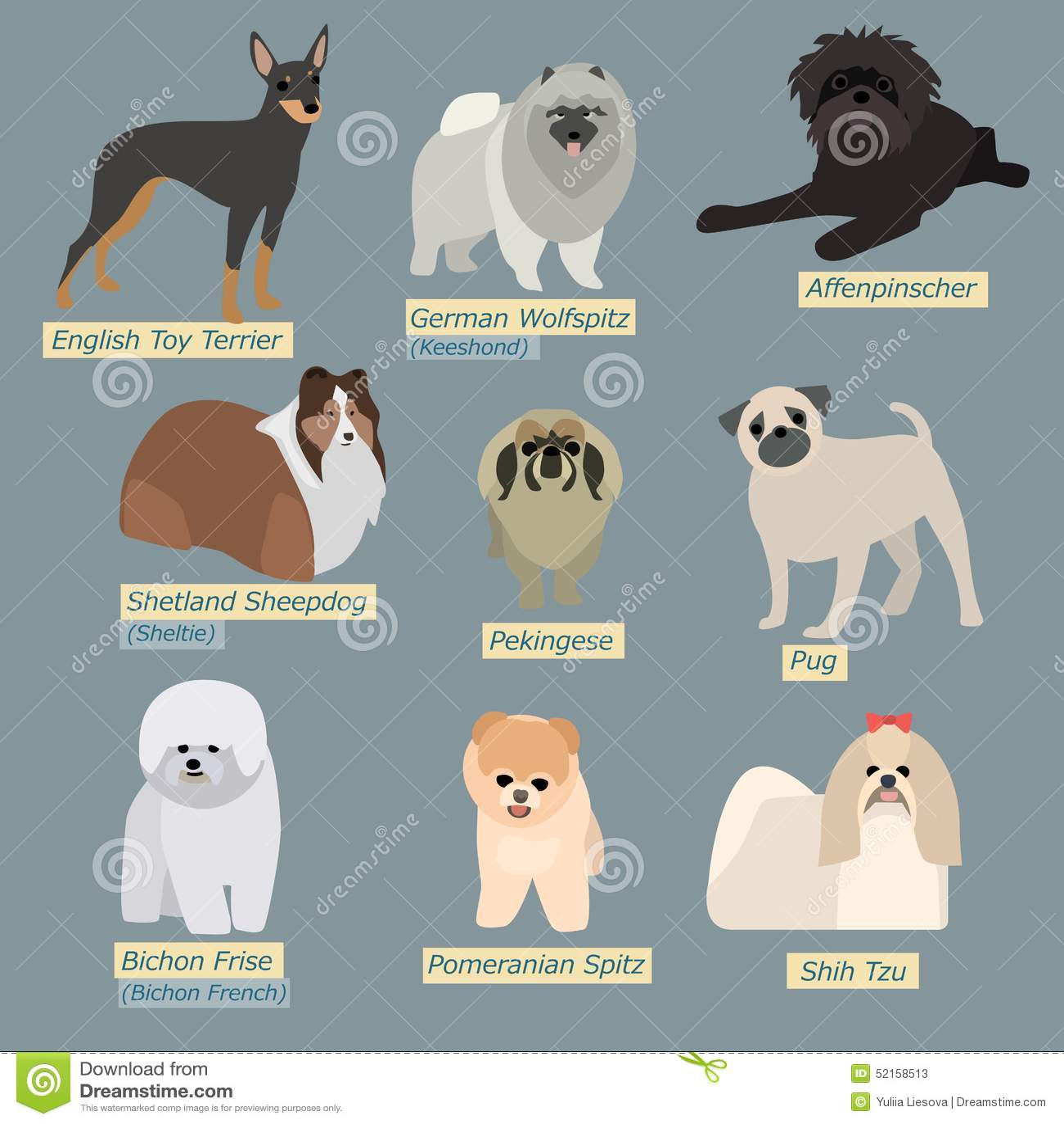 Siluetas simples de perros Mini-perros en diseño plano
