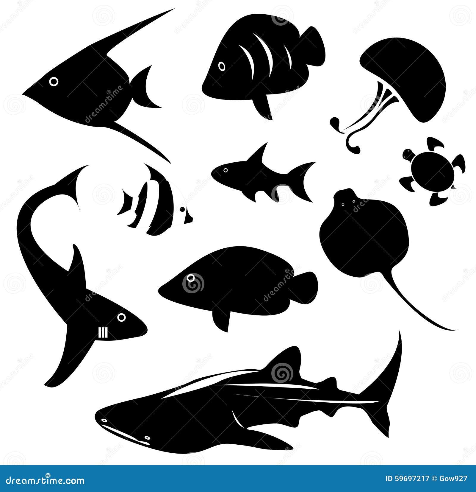 Siluetee El Animal Marino Y El Reptil Tal Como Tiburón Tortuga De