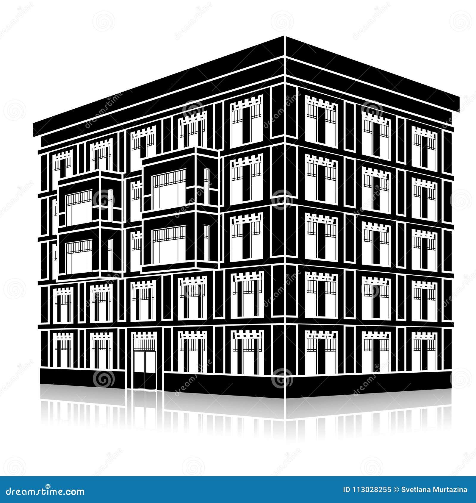 Siluetee el edificio de oficinas con una entrada y una reflexión