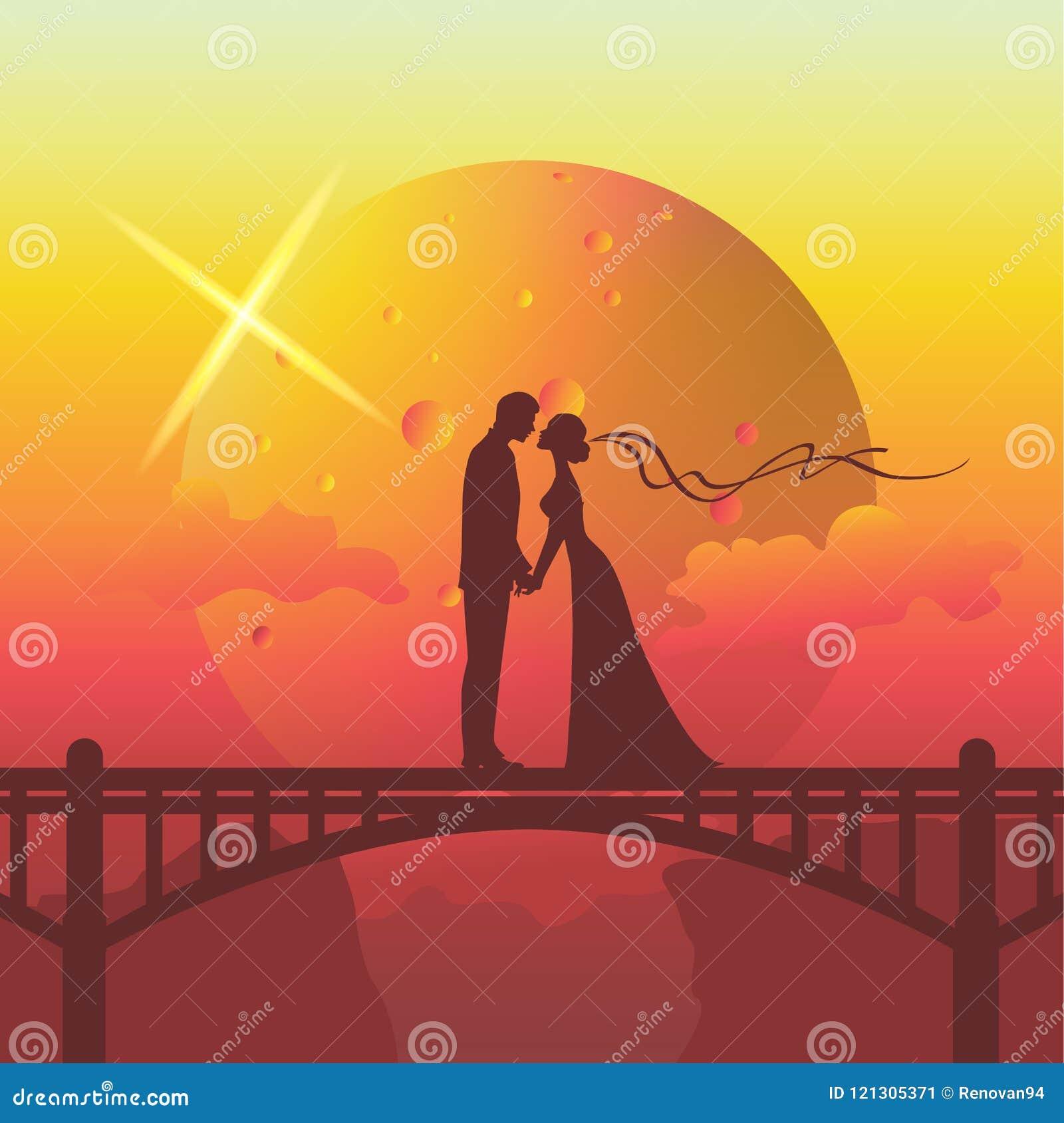 Siluetee el ejemplo de los pares románticos que se besan en el puente
