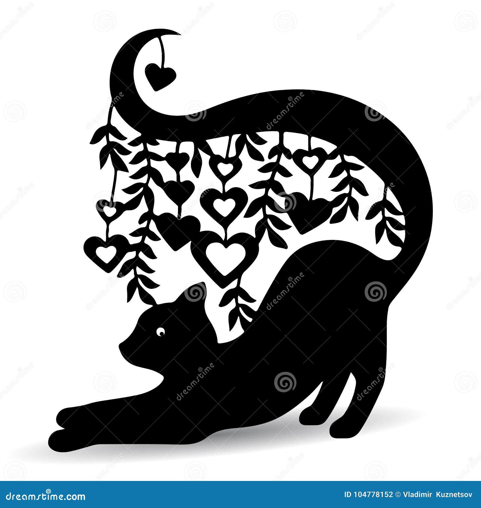 Siluetee el gato negro, adornado, con una cola larga donde los corazones