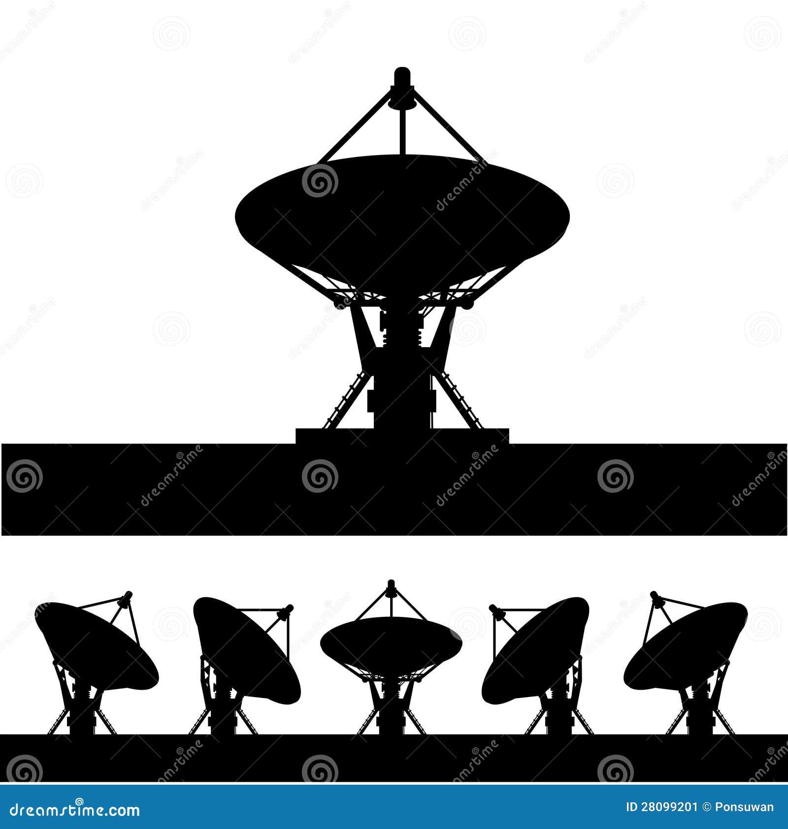 Siluetee la antena parabólica