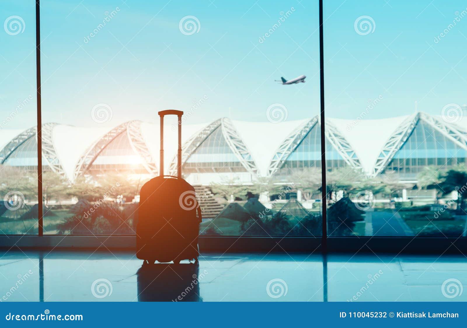 Siluetee la maleta, el equipaje en ventana lateral en el international del terminal de aeropuerto y el aeroplano afuera en vuelo