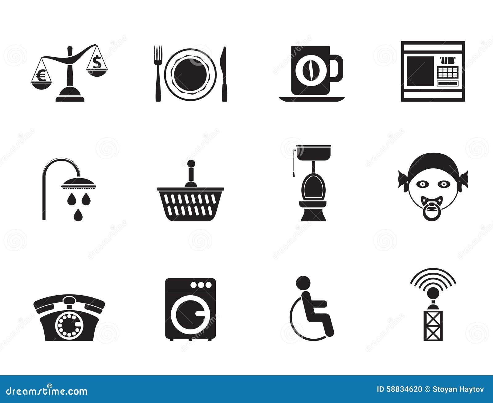 Siluetee los iconos de los servicios del borde de la carretera, del hotel y del motel