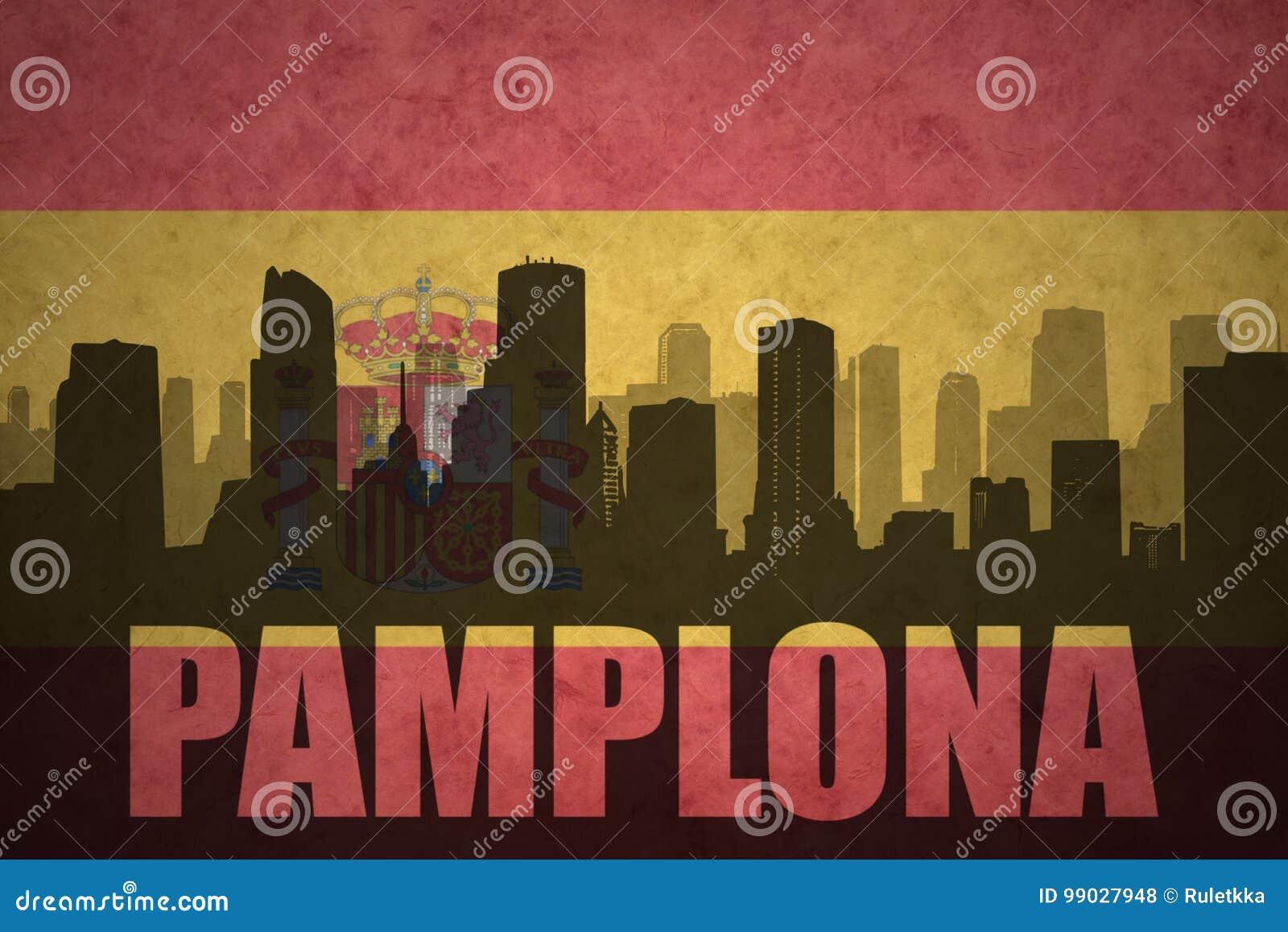 Siluetta astratta della città con testo Pamplona alla bandiera d annata dello Spagnolo