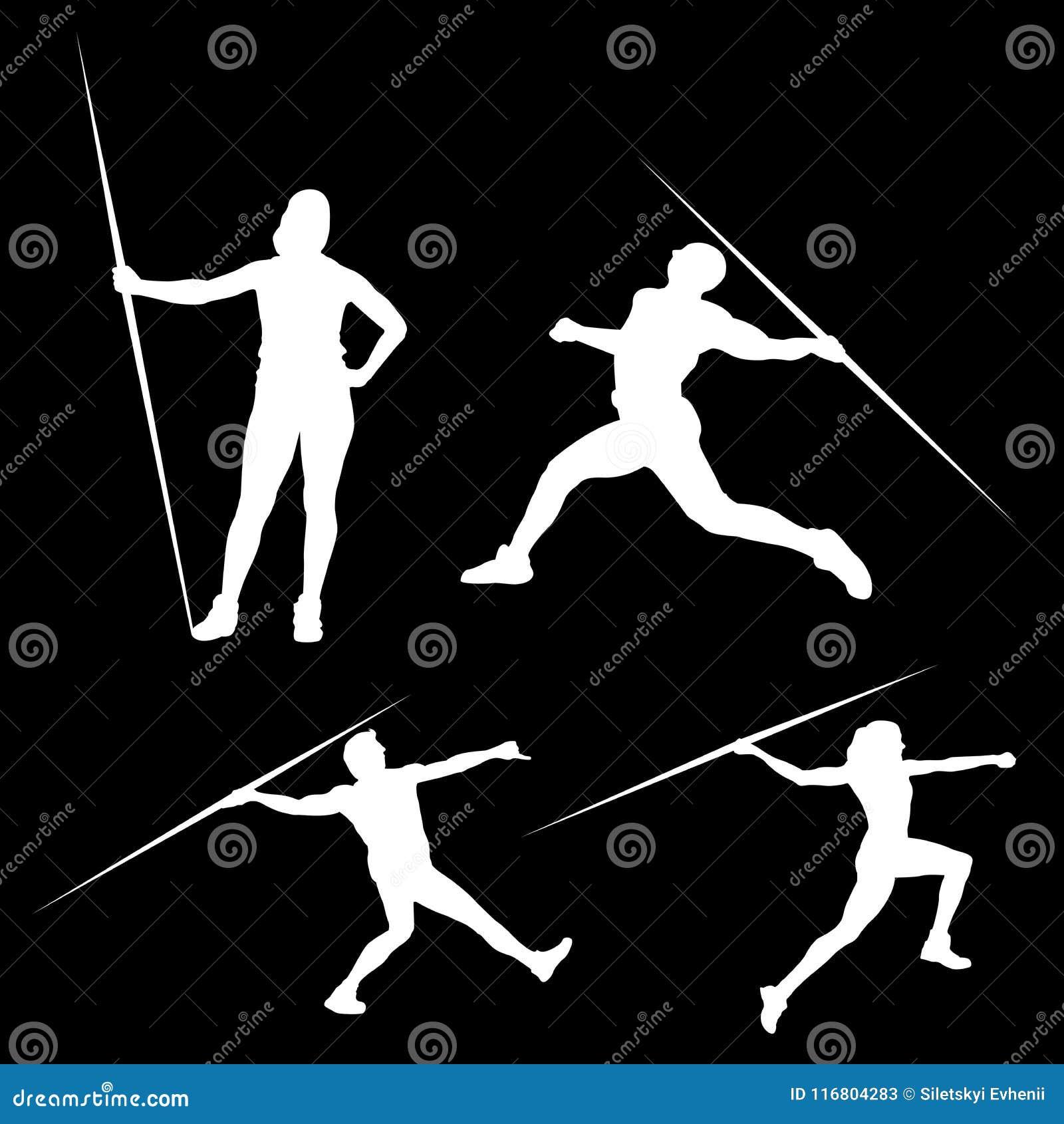 Siluetta bianca di un uomo con una lancia nelle pose differenti, su un fondo nero