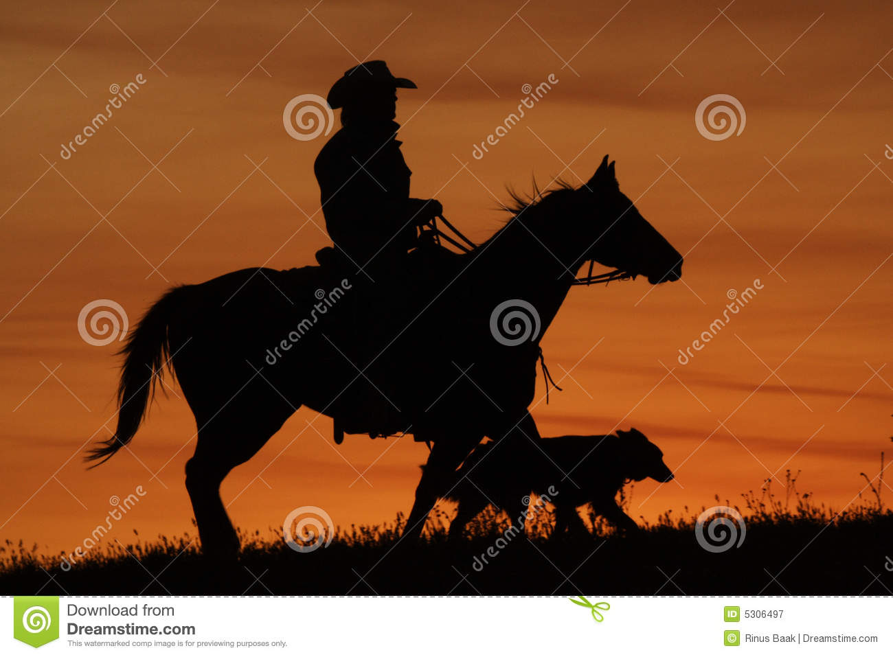 Download Siluetta Del Cane E Del Cowboy Immagine Stock - Immagine di homeward, arancione: 5306497