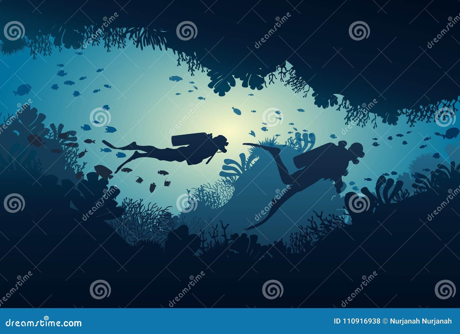 Siluetta dell operatore subacqueo, barriera corallina e subacqueo