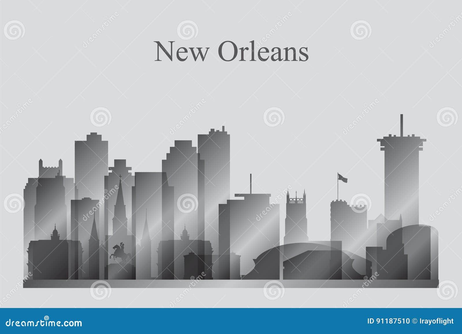 Siluetta dell orizzonte della città di New Orleans nella gradazione di grigio