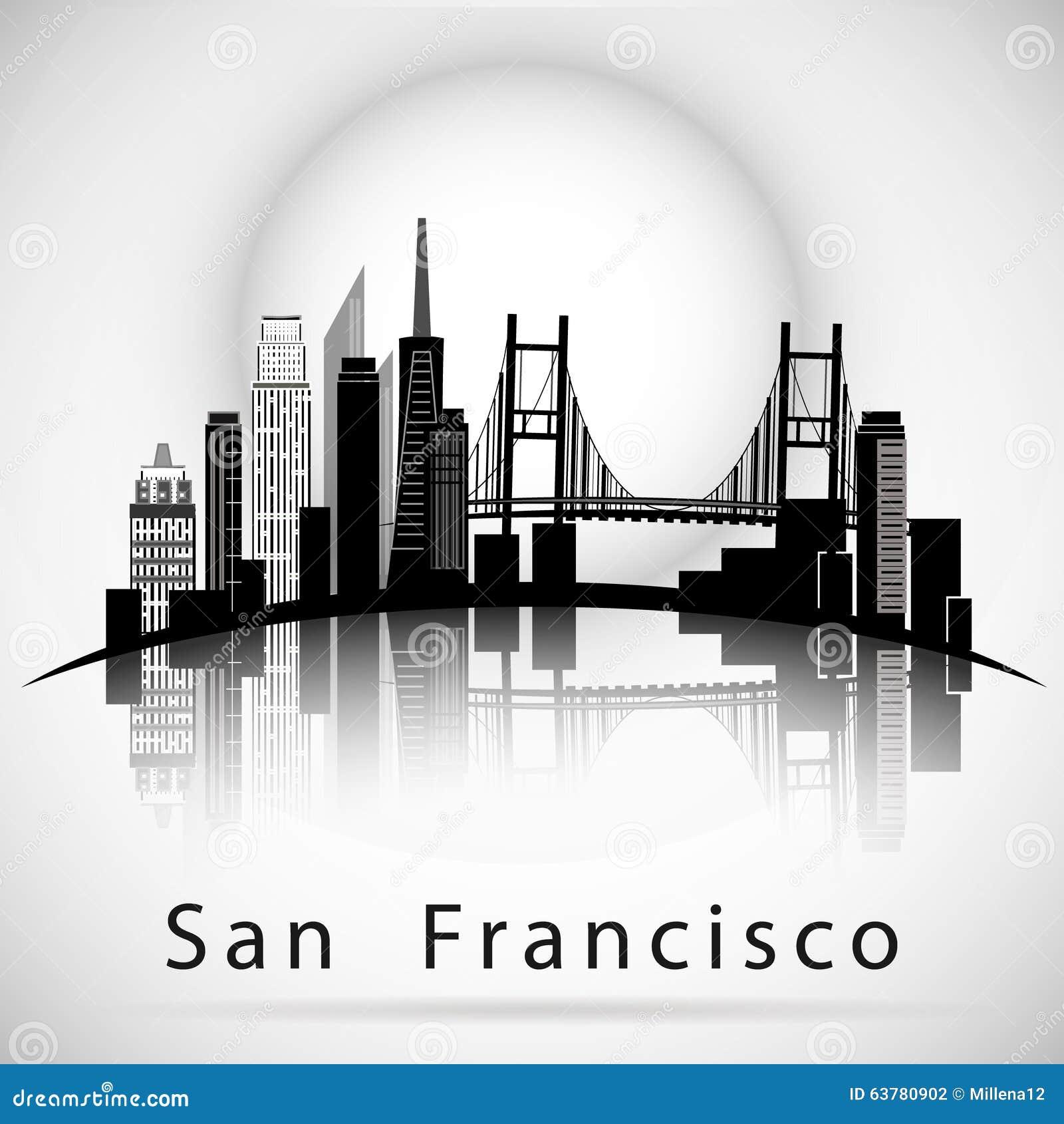 Siluetta dell orizzonte della città di San Francisco
