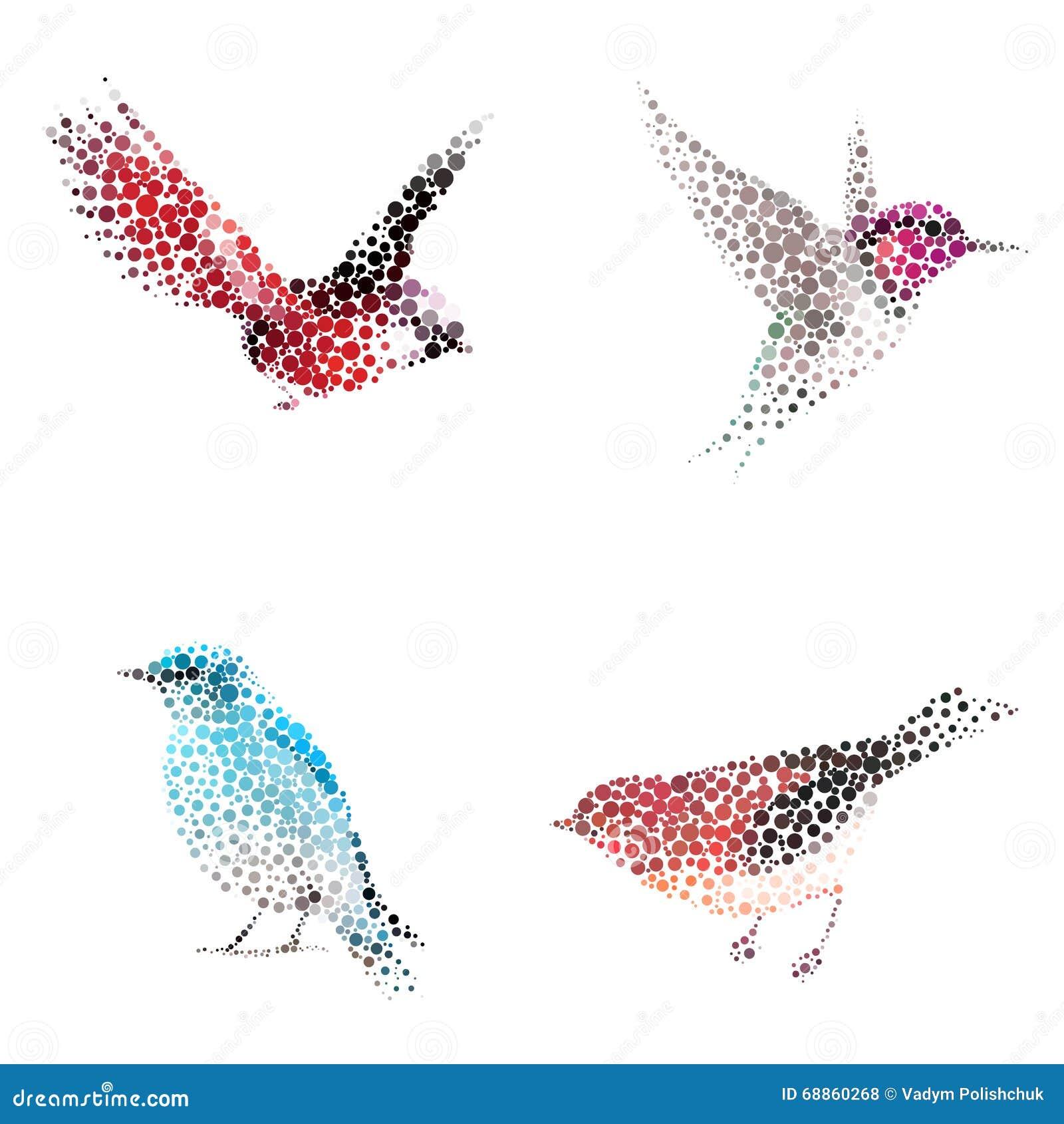 Siluetta dell uccello che consiste del cerchio