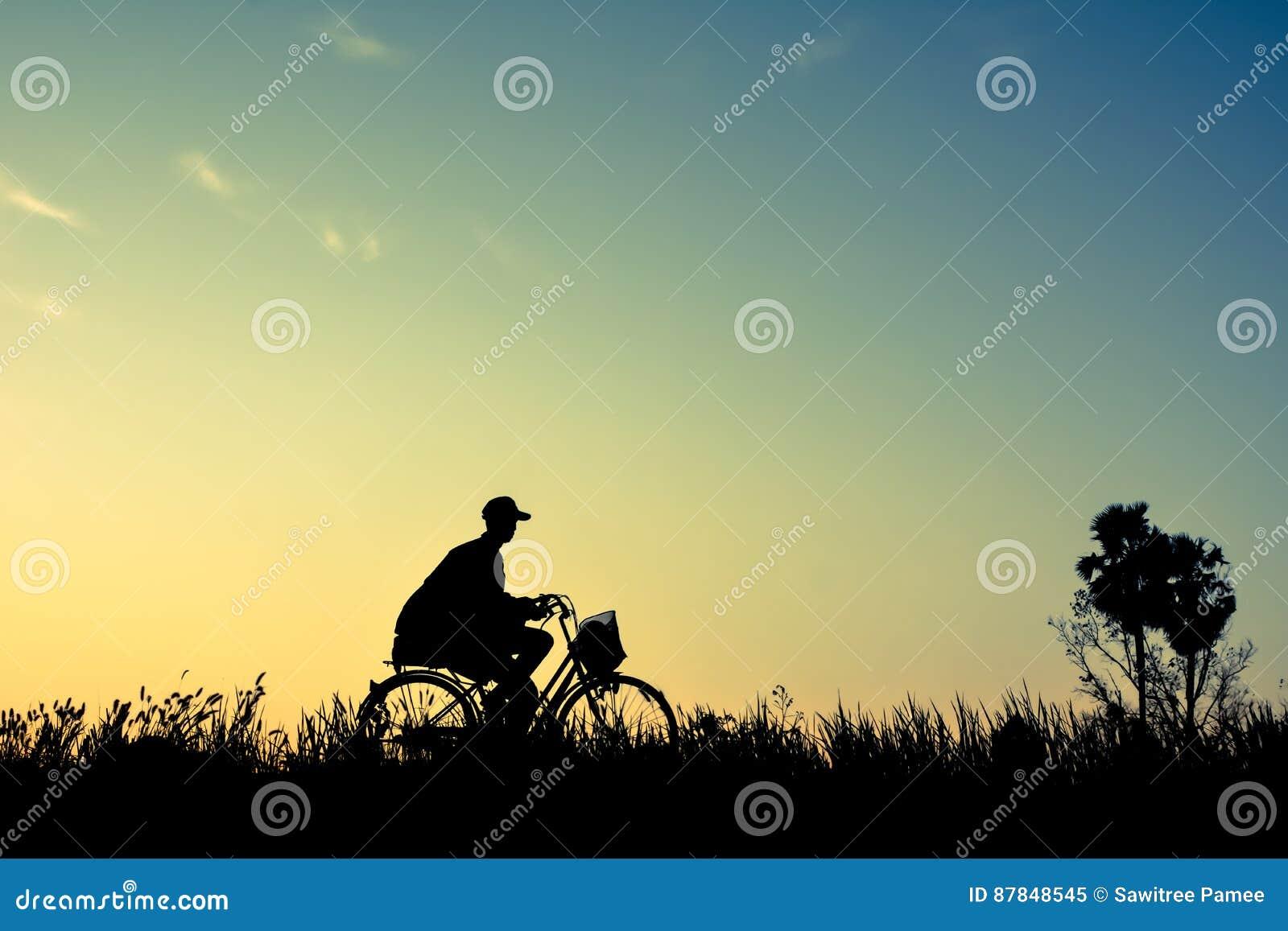 Siluetta Delluomo E Di Vecchia Bicicletta Su Erba Immagine Stock