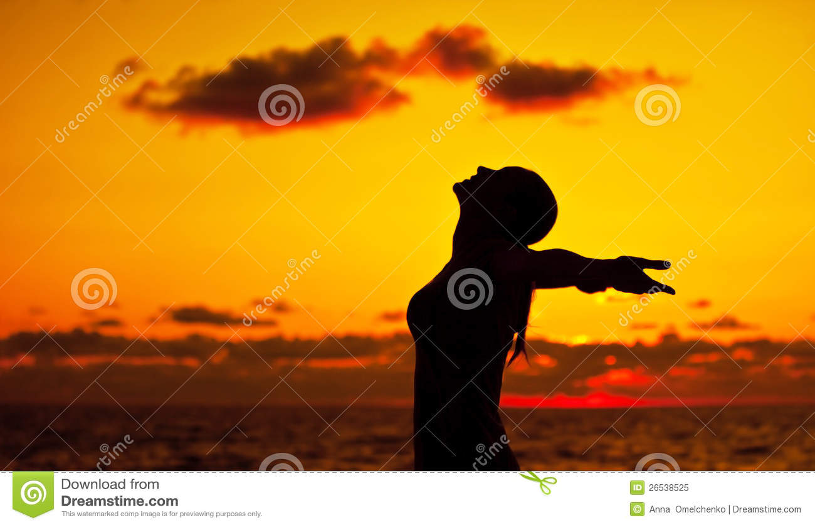 Siluetta della donna sopra il tramonto