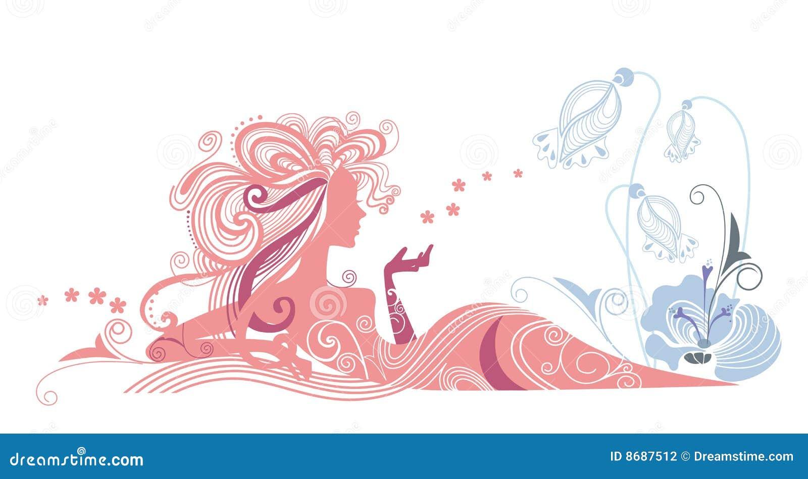 Siluetta della ragazza e dei fiori