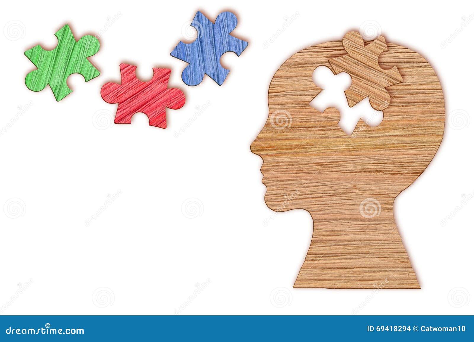 Siluetta della testa umana, simbolo di salute mentale Puzzle