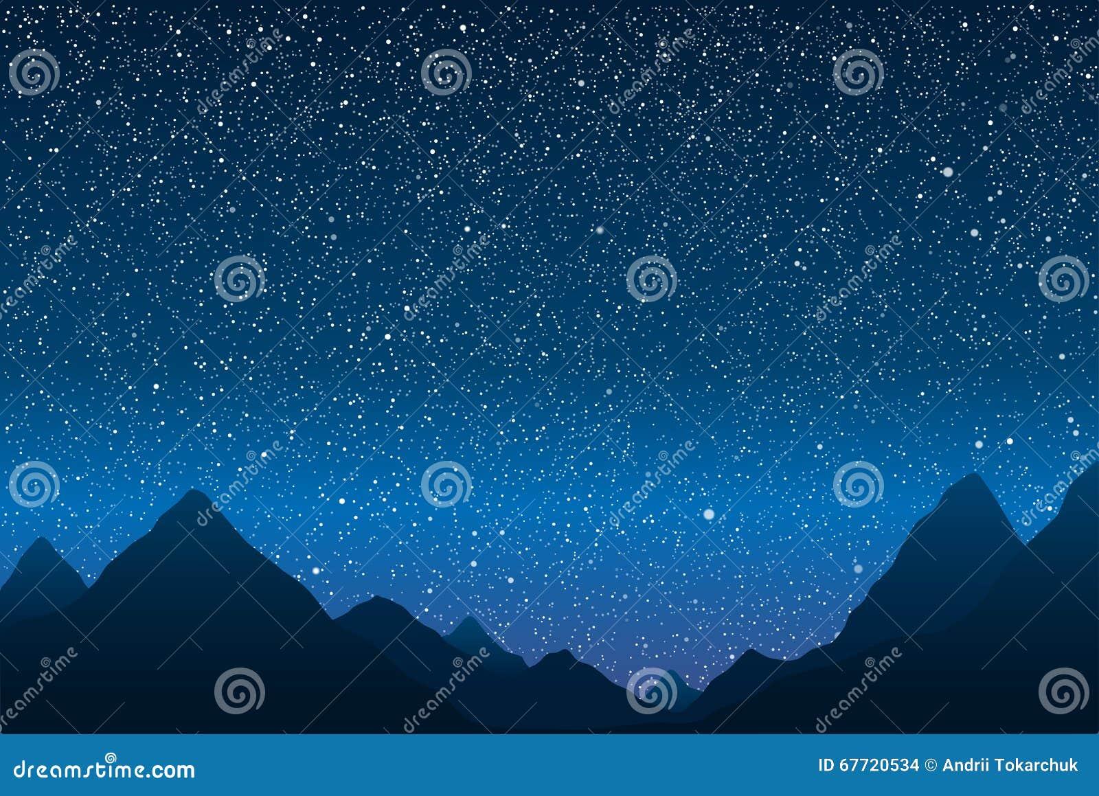 Siluetta Delle Montagne Cielo Stellato Env 10 Illustrazione