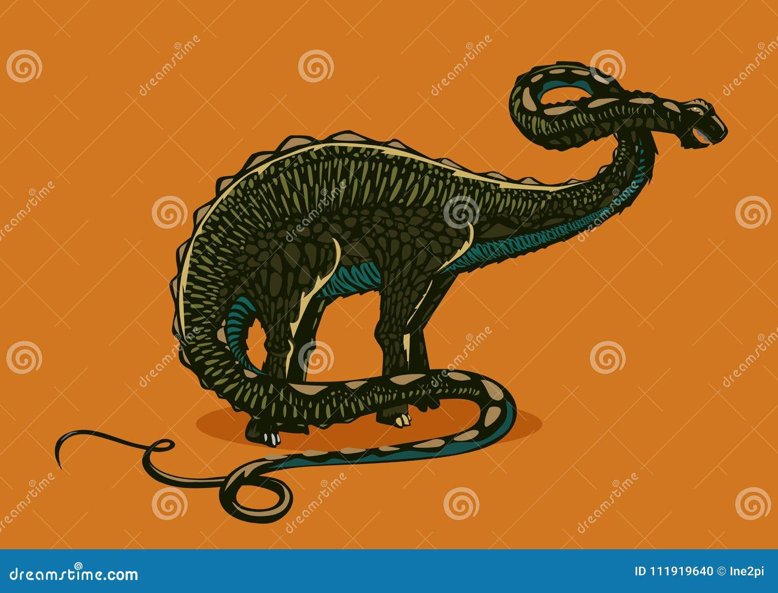 Siluetta di apatosauro del dinosauro su fondo isolato Brontosauro di colore Incida lo stile