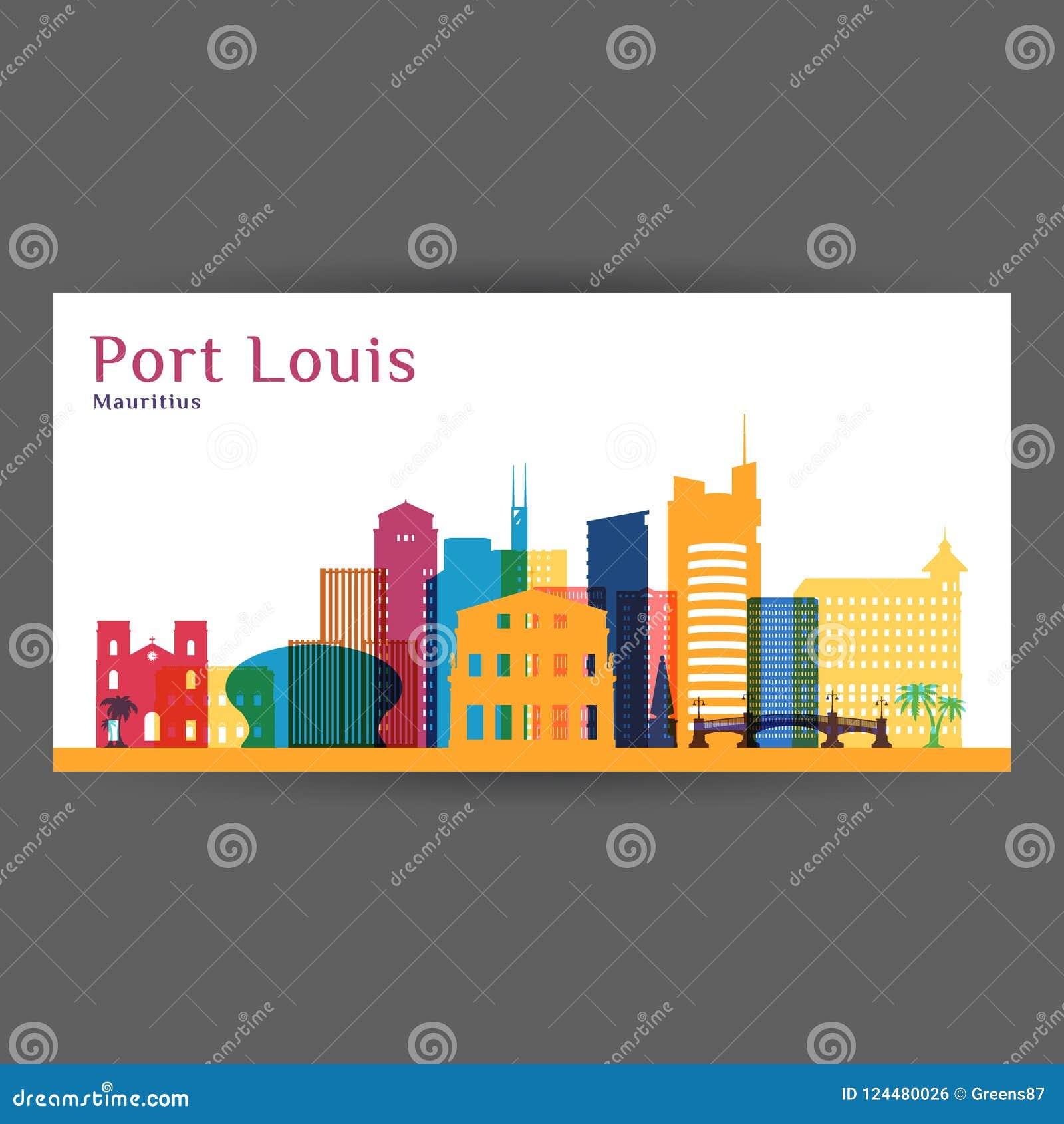 Siluetta di architettura della città di Port Louis