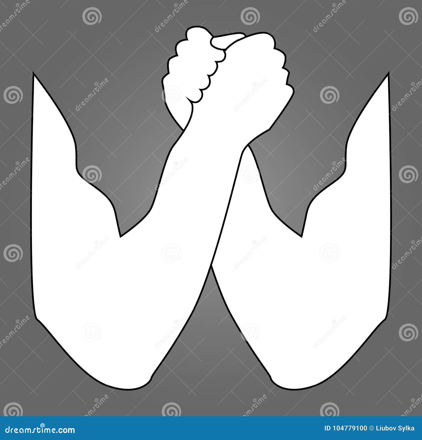 Siluetta di braccio di ferro Braccio di ferro, mani, illustrazione di vettore, per il logo, la vostra progettazione Due mani uman