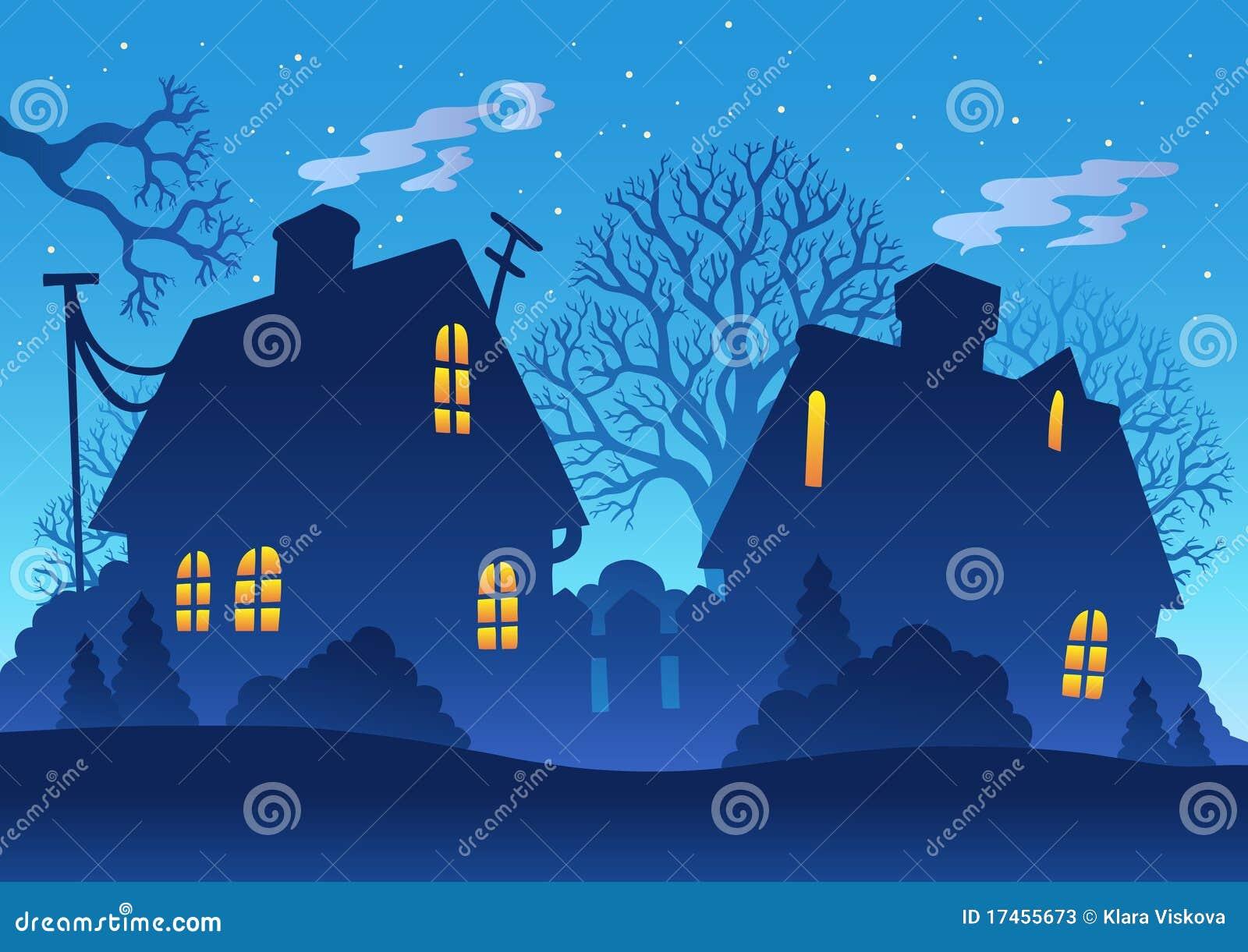 Siluetta di notte del villaggio