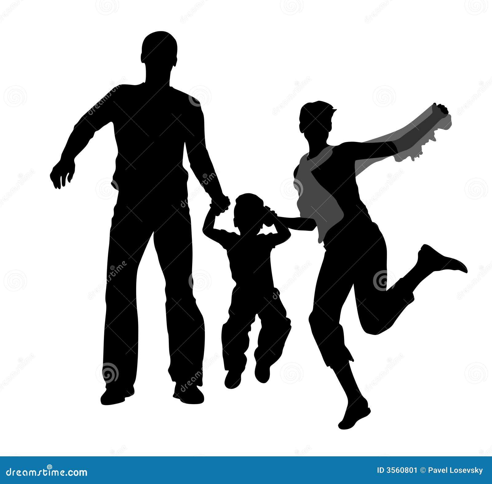 Siluetta di salto della famiglia
