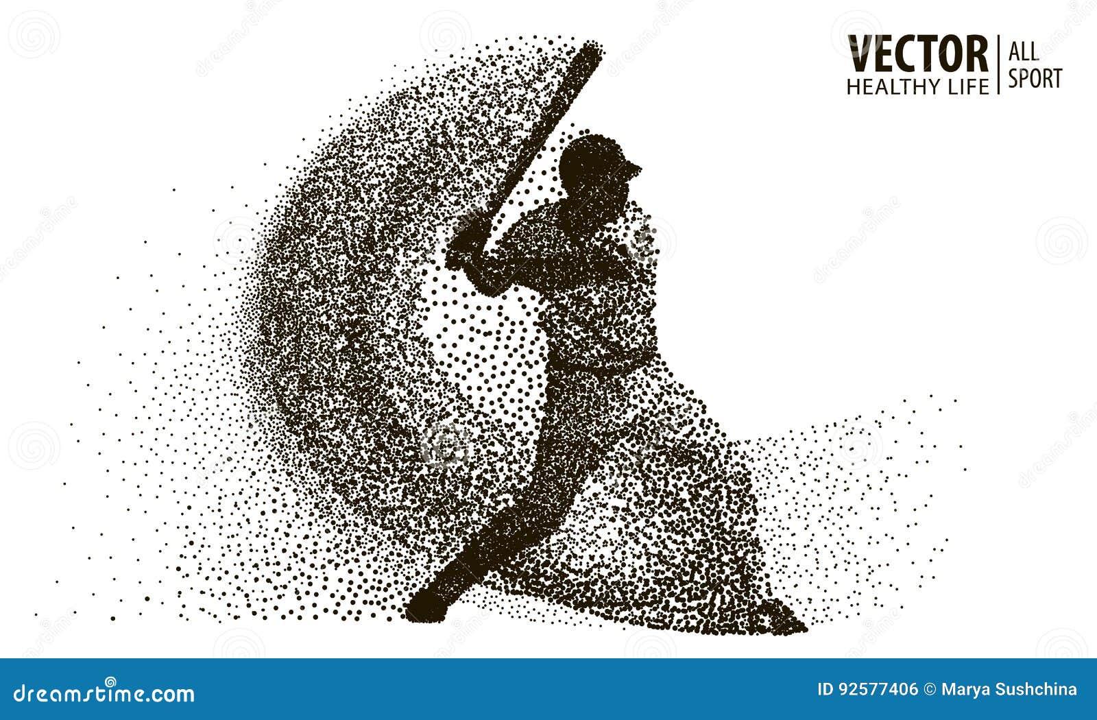 Siluetta di un giocatore di baseball dalla particella Siluetta di vettore