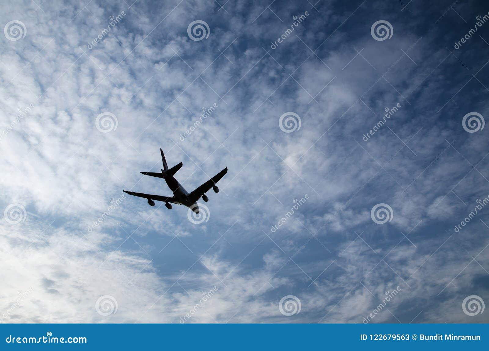 Siluetta di un volo dell aeroplano isolata sul fondo di giorno del cielo nuvoloso