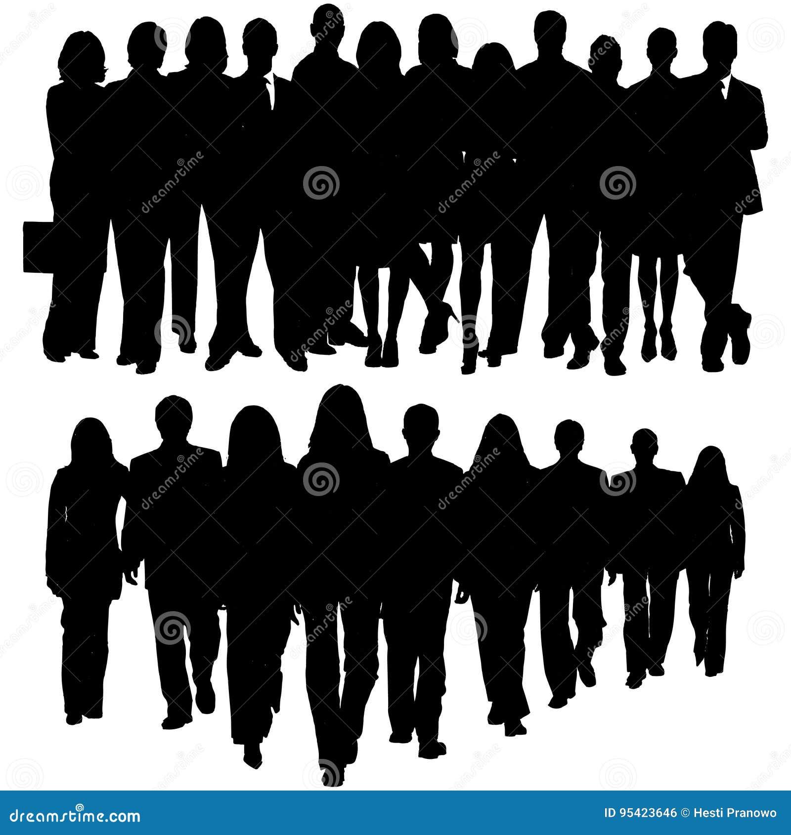 Siluetta di una folla enorme della gente di affari