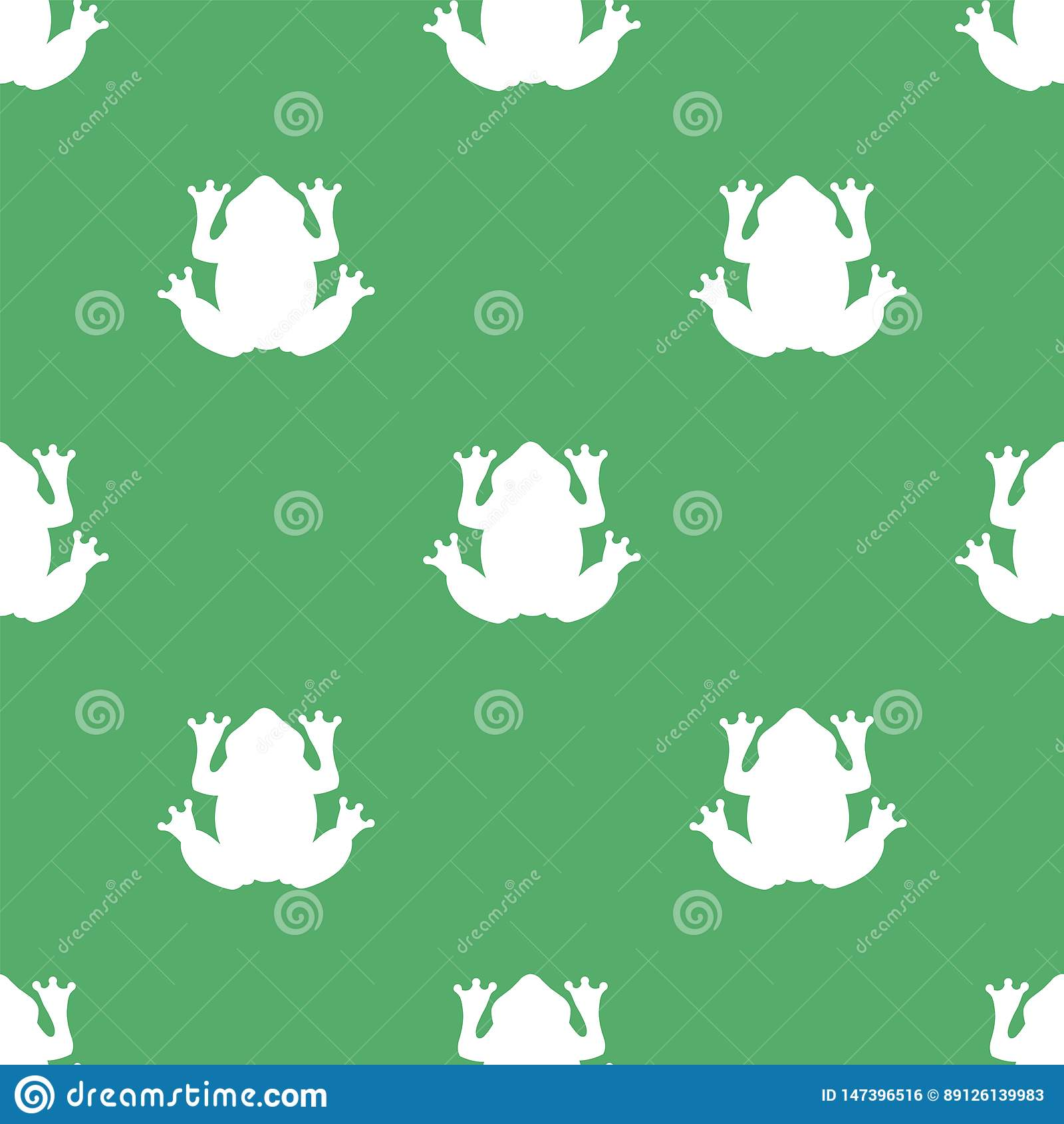 Siluetta di una rana bianca su un fondo verde