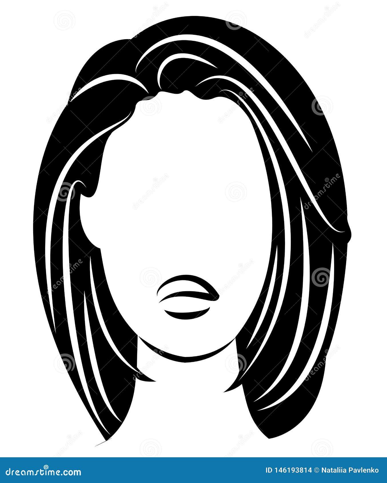 Siluetta di una testa di una signora dolce Una ragazza mostra un acconciatura di una donna su capelli medi e lunghi Adatto a logo