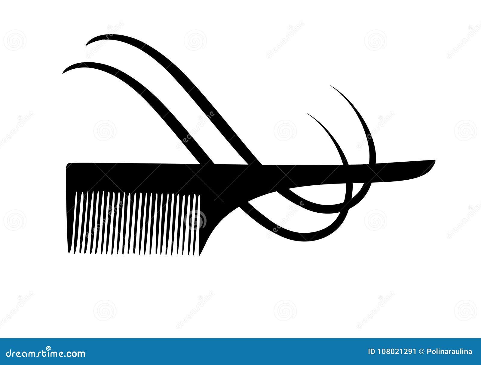 Siluetta di vettore del pettine e dei capelli
