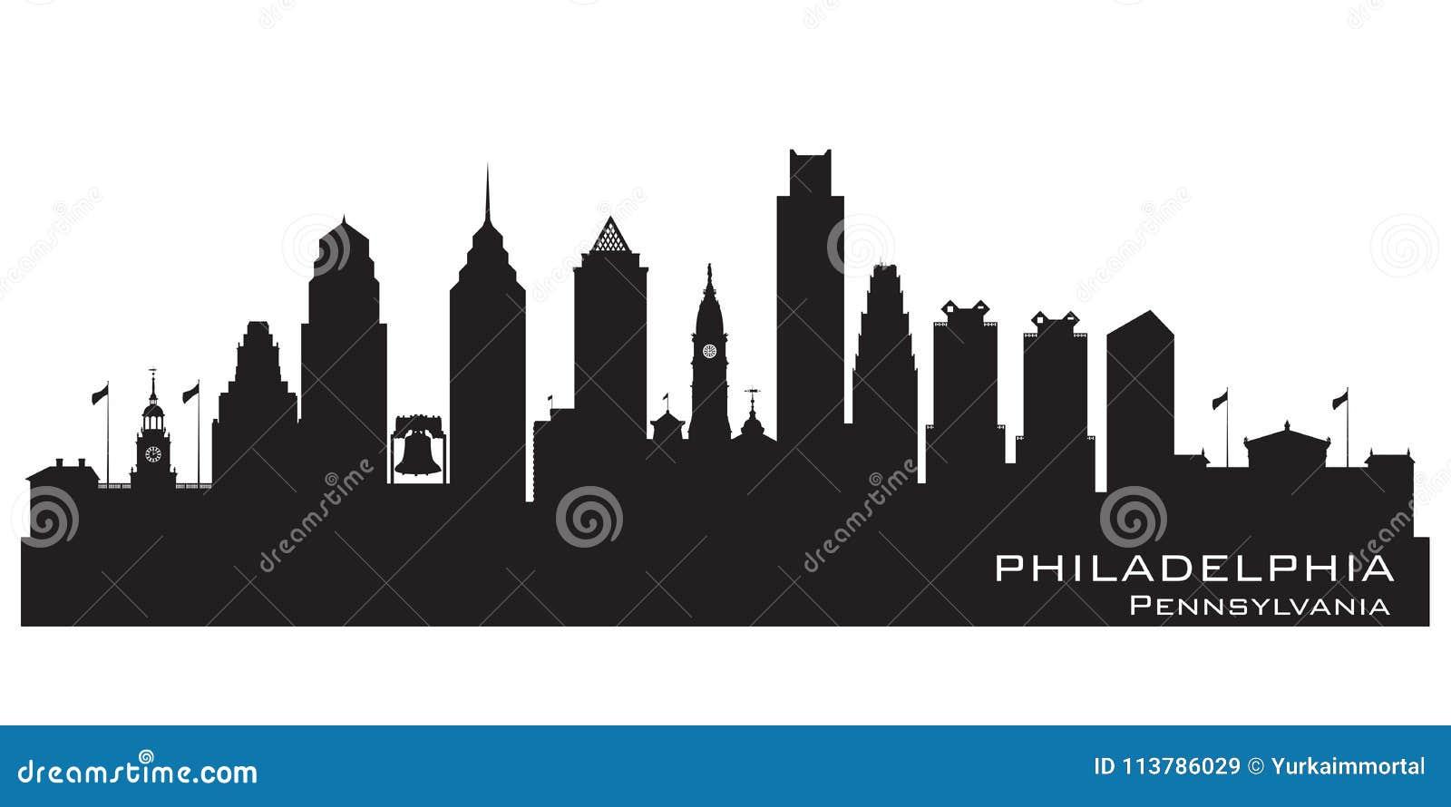 Siluetta di vettore dell orizzonte della città di Filadelfia Pensilvania