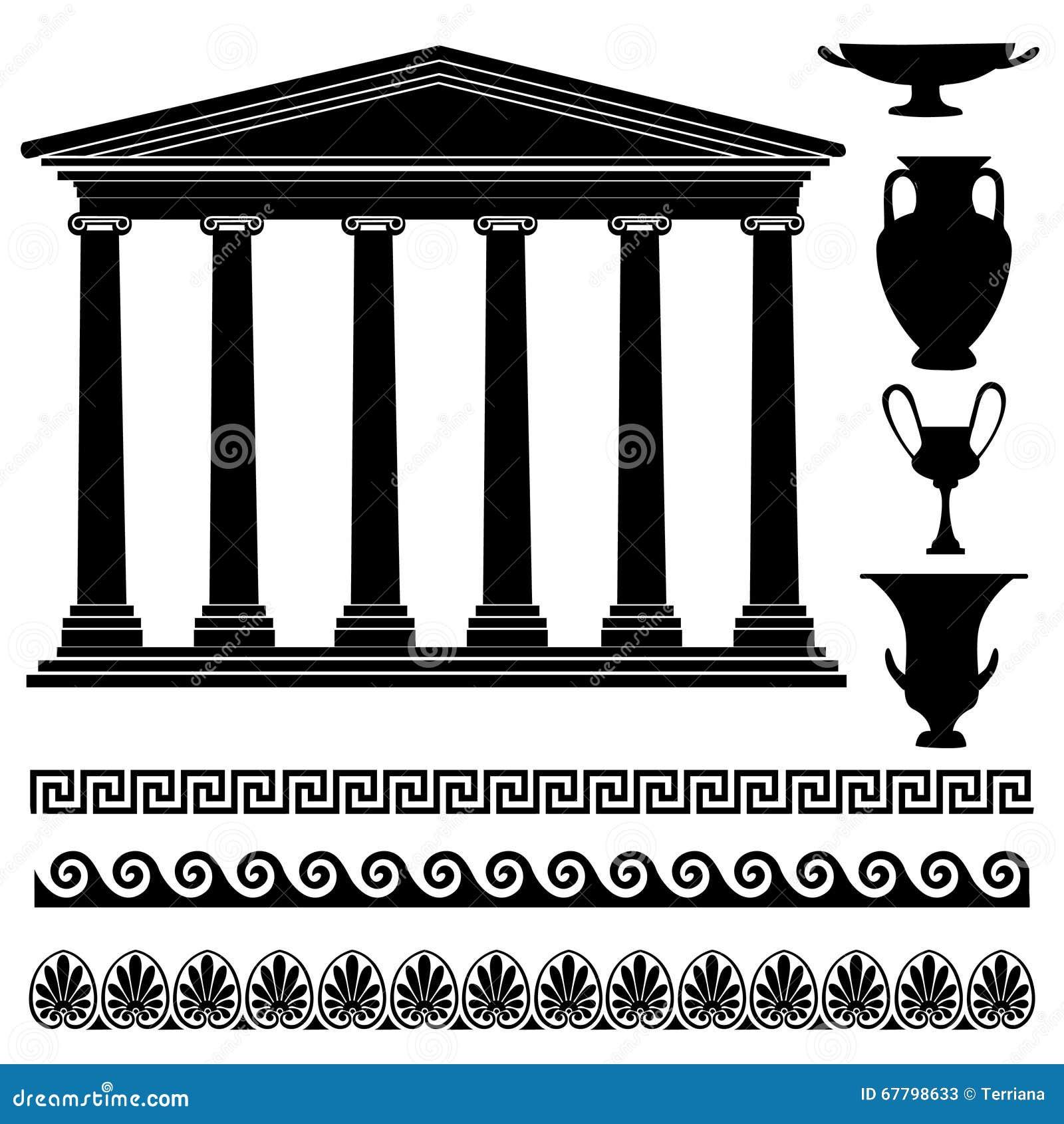 Decorazioni Dei Vasi Greci.Siluetta Greca Del Vaso Ornamento Senza Cuciture Raccolta Del