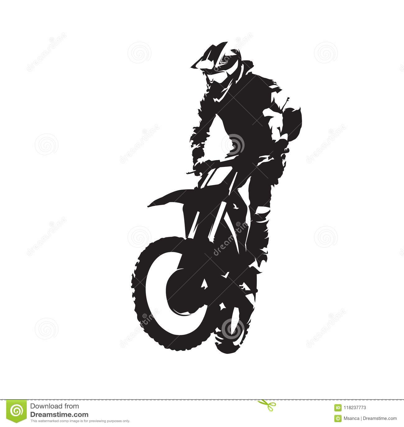 Siluetta Isolata Vettore Del Cavaliere Di Motocross
