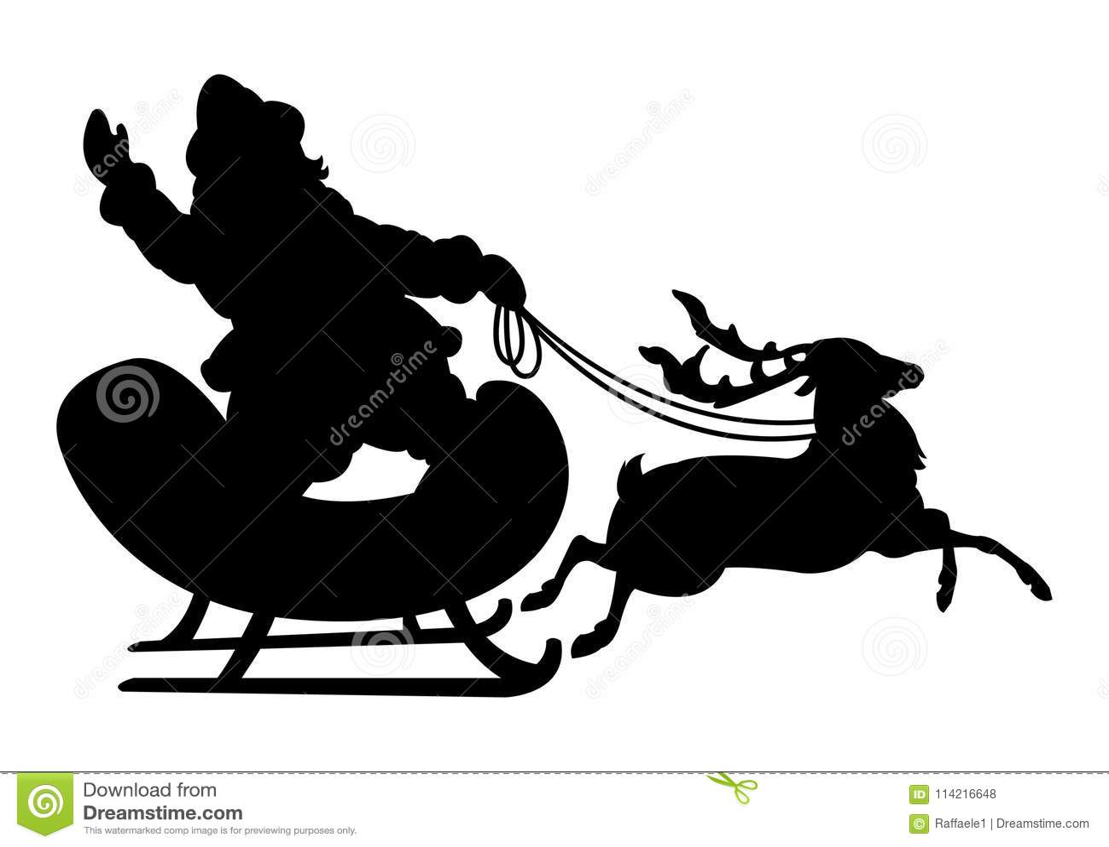 Siluetta nera della renna e di Santa