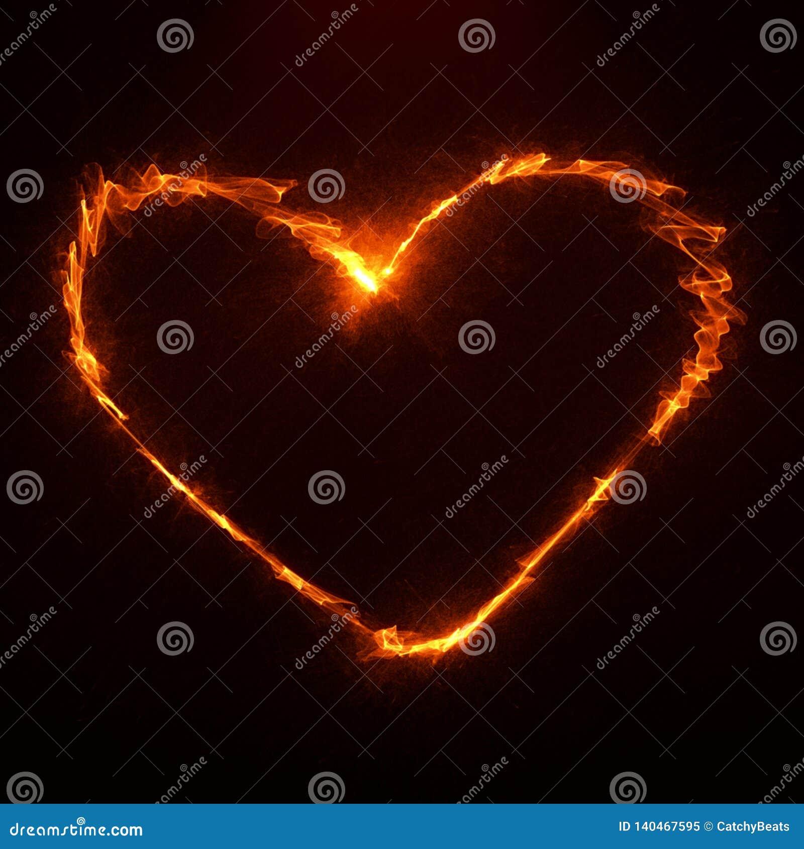 Siluetta vibrante futuristica del cuore del fuoco