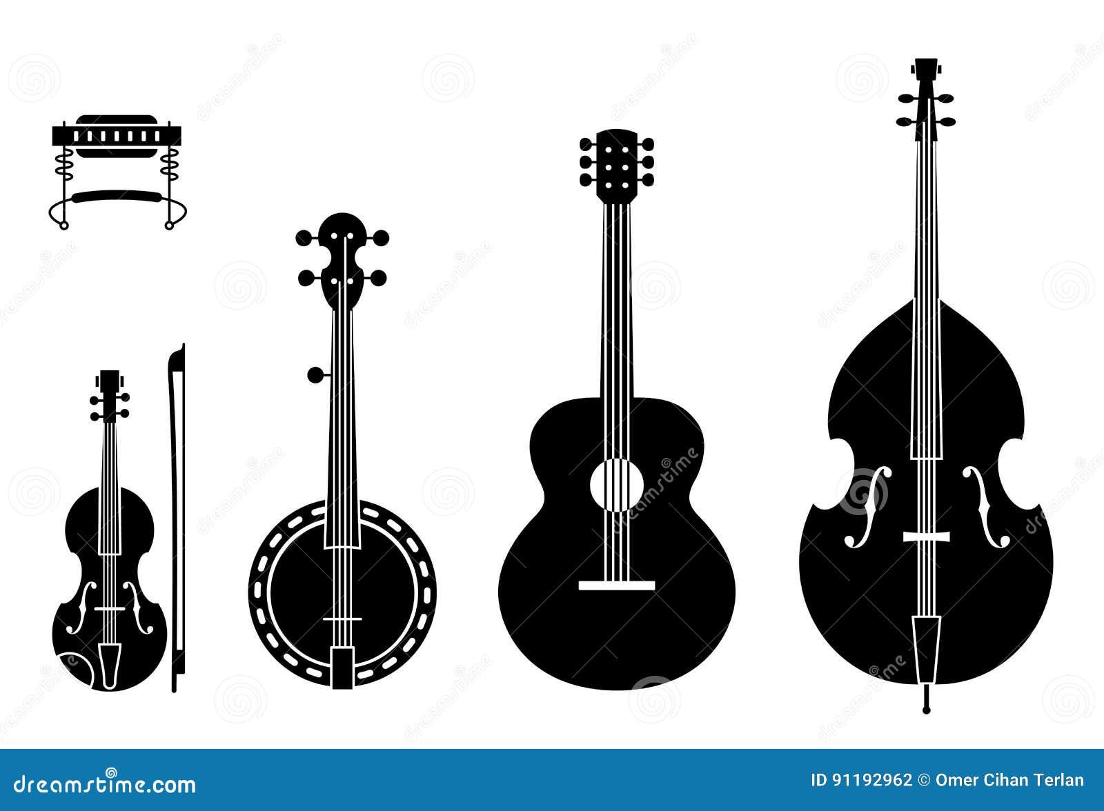 Siluette degli strumenti di musica country con le corde