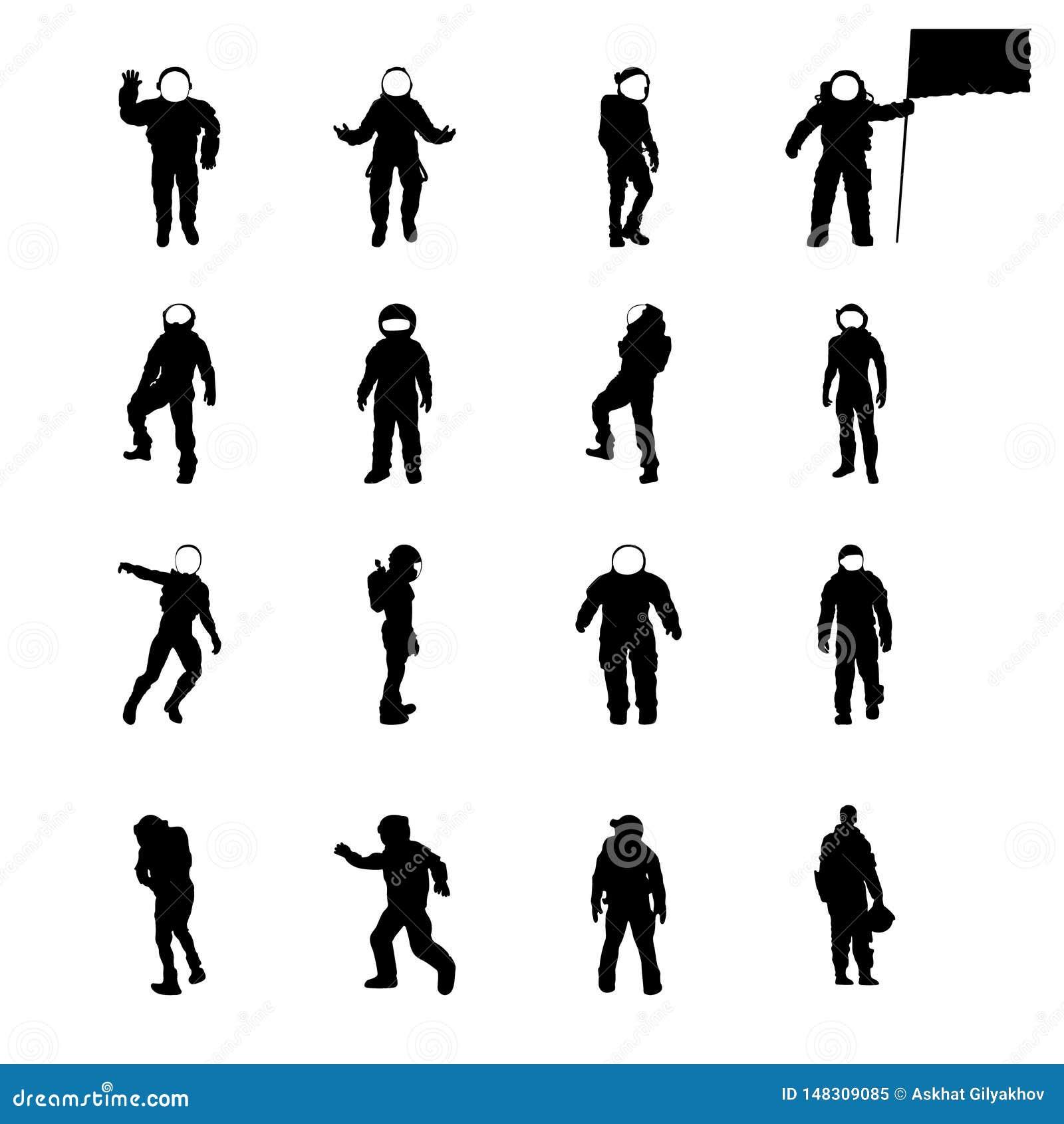 Siluette dei cosmonauti insieme, raccolta di vettore dell astronauta di sillhouettes in varie pose