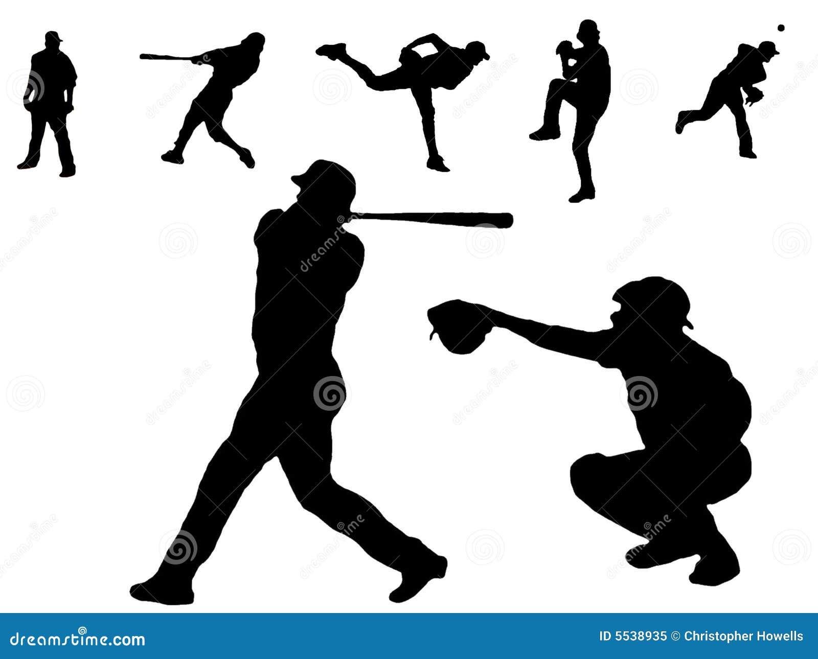 Siluette del giocatore di baseball
