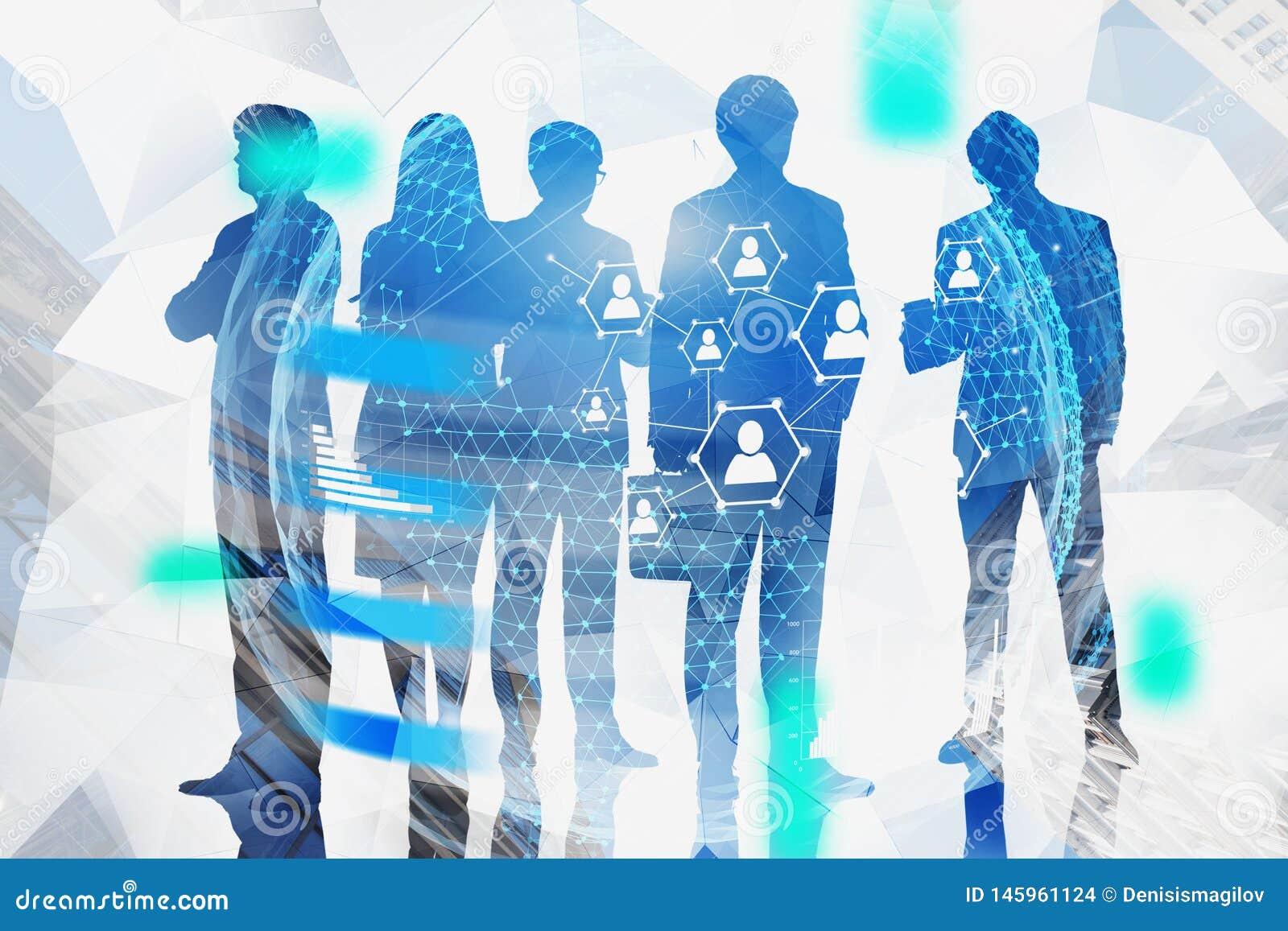 Siluette del gruppo di affari, collegamento sociale