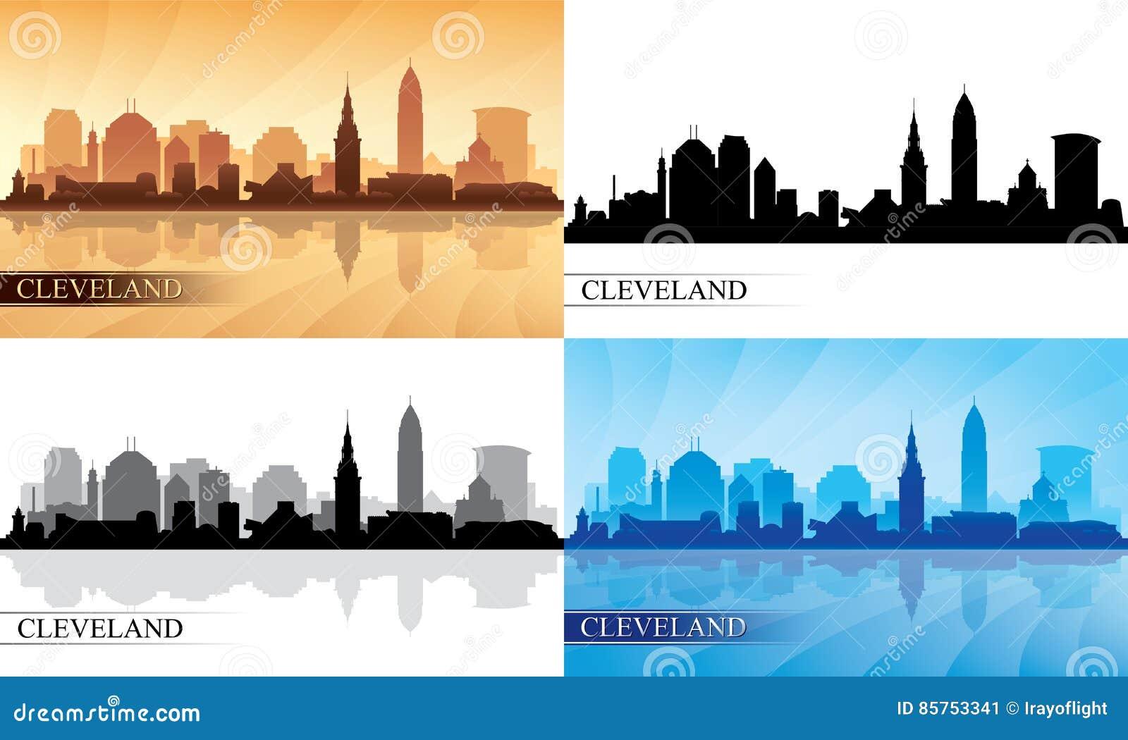 Siluette dell orizzonte di Cleveland messe