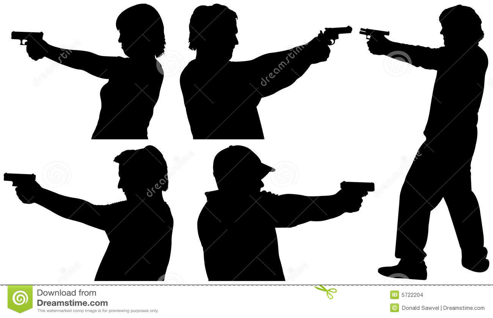 Siluette della fucilazione della pistola