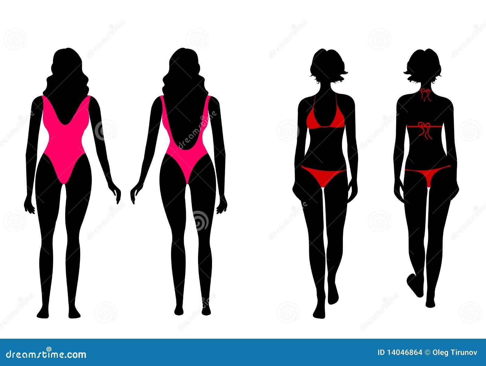 Siluette delle donne in vestito di bagno illustrazione - Donne scopate in bagno ...