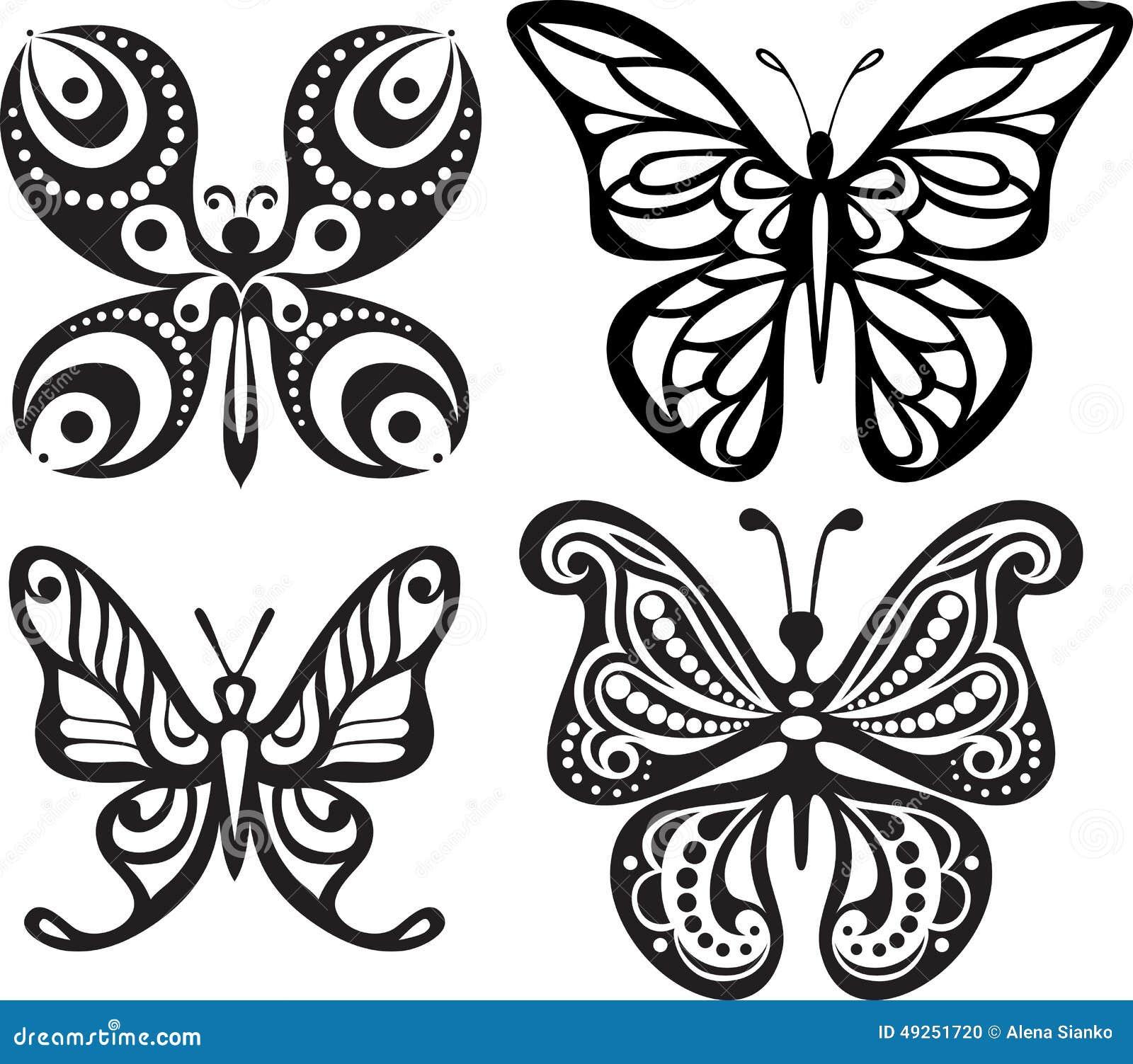 Siluette delle farfalle con i trafori aperti delle ali Disegno in bianco e nero Pranzare decorazione