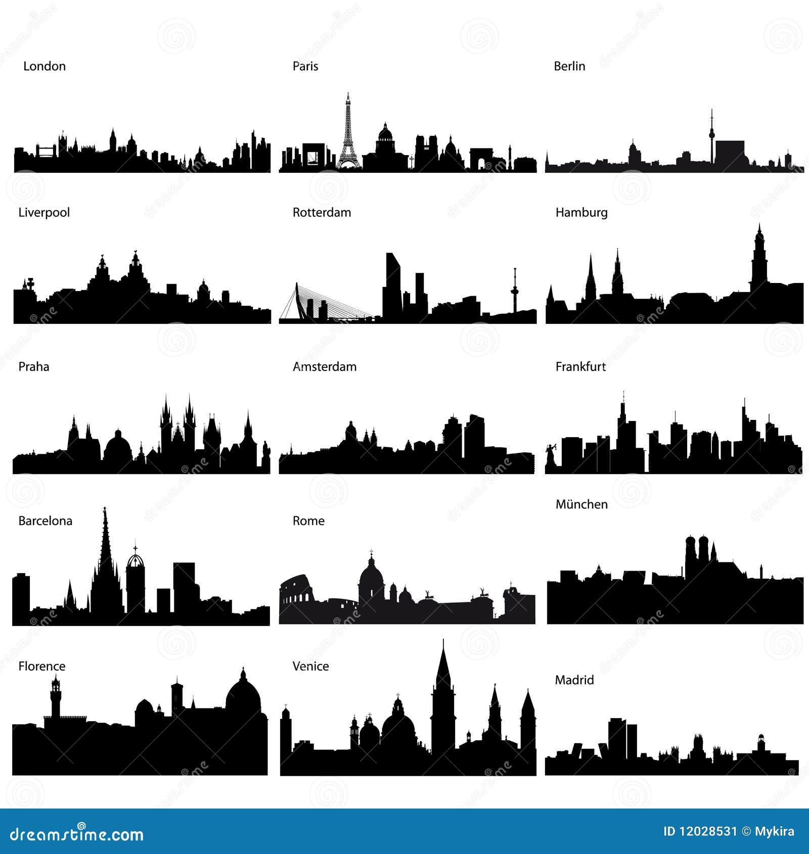 Siluette dettagliate di vettore delle città europee