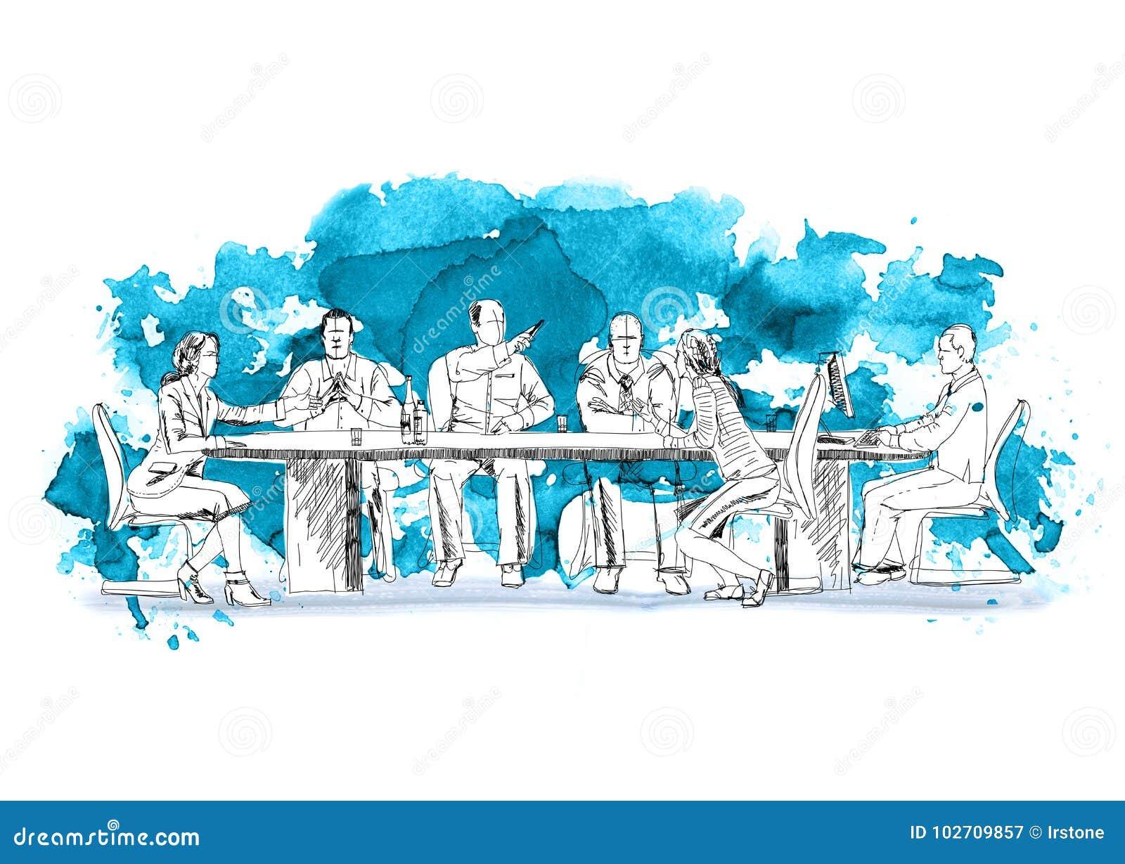 Siluette di riuscita gente di affari che lavora alla riunione Schizzo con gli effetti colourful di colore di acqua