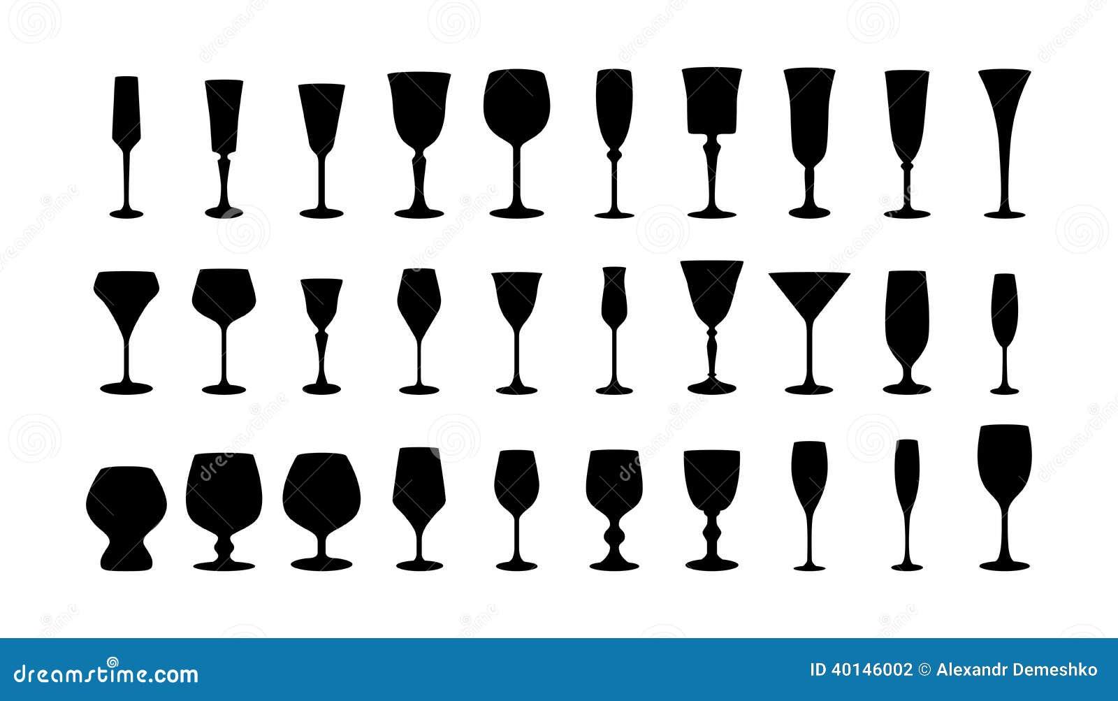 Siluette di vetro di vino messe.