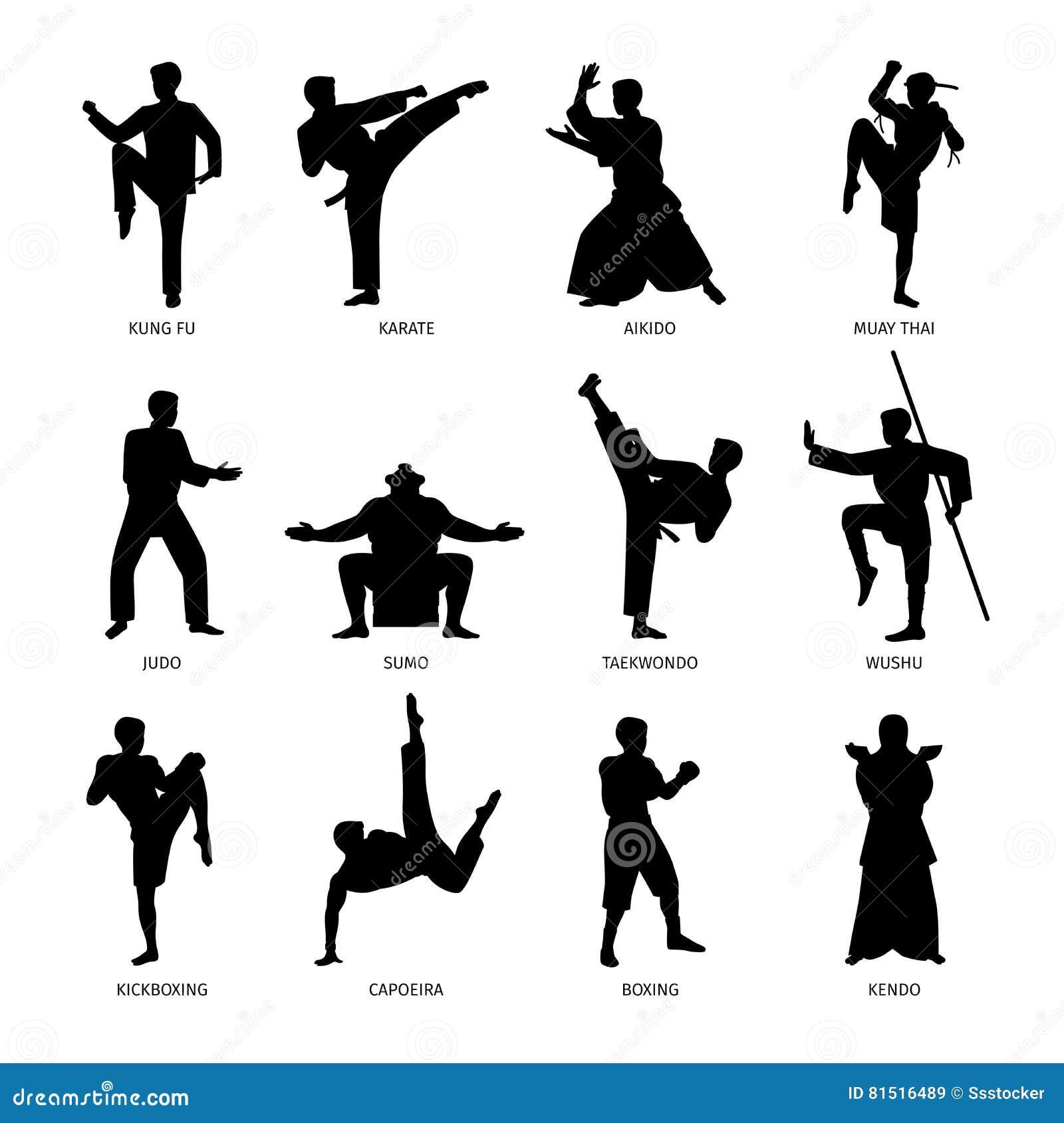 Siluette nere di arti marziali asiatiche